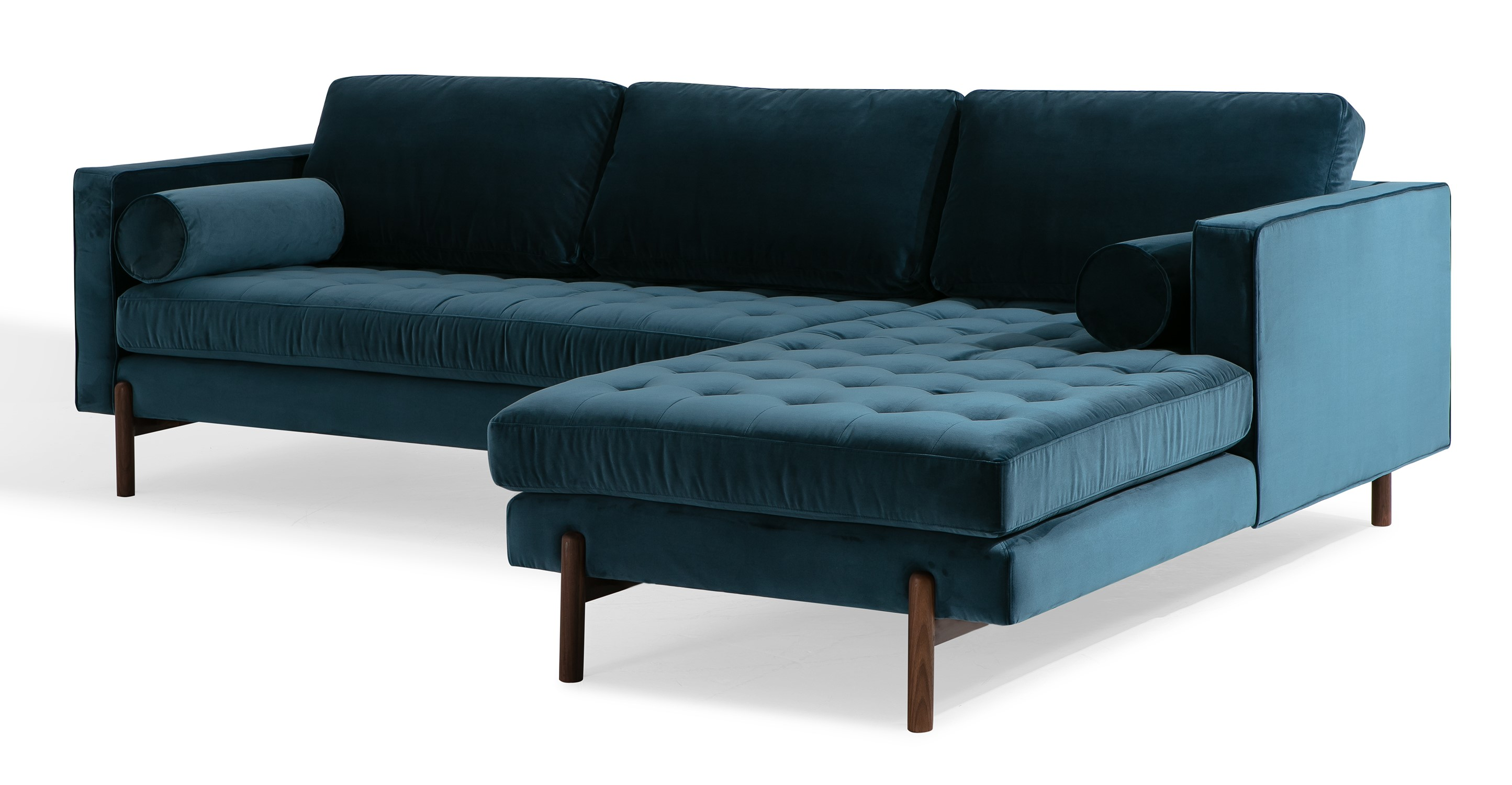 "Dwell 108"" Fabric Sofa Sectional Right, Petrol Velvet"