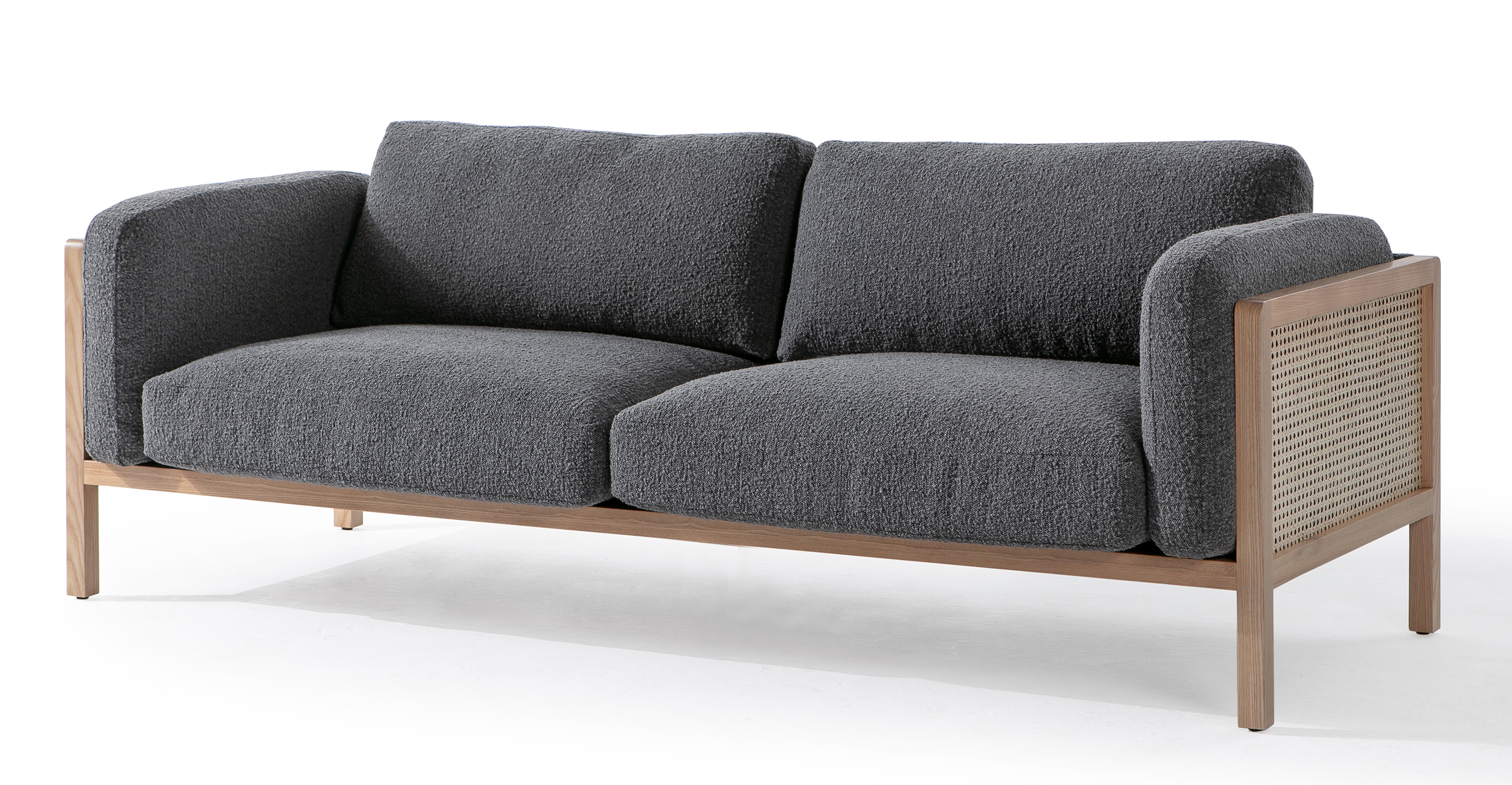 "Rufus Wicker 83"" Fabric Sofa, Charred Boucle"