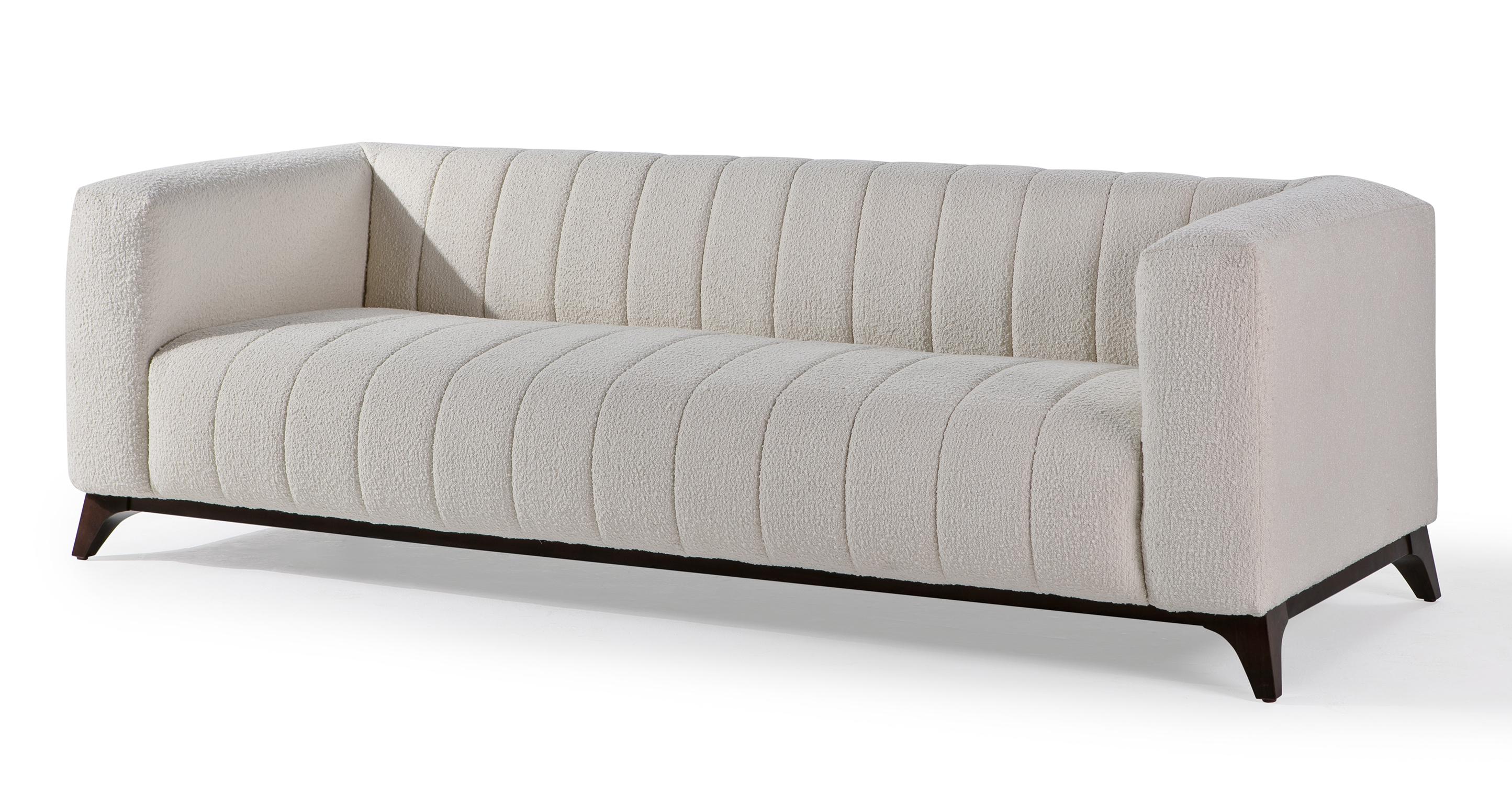 """Lucien 91"""" Fabric Sofa, Cream Boucle"""