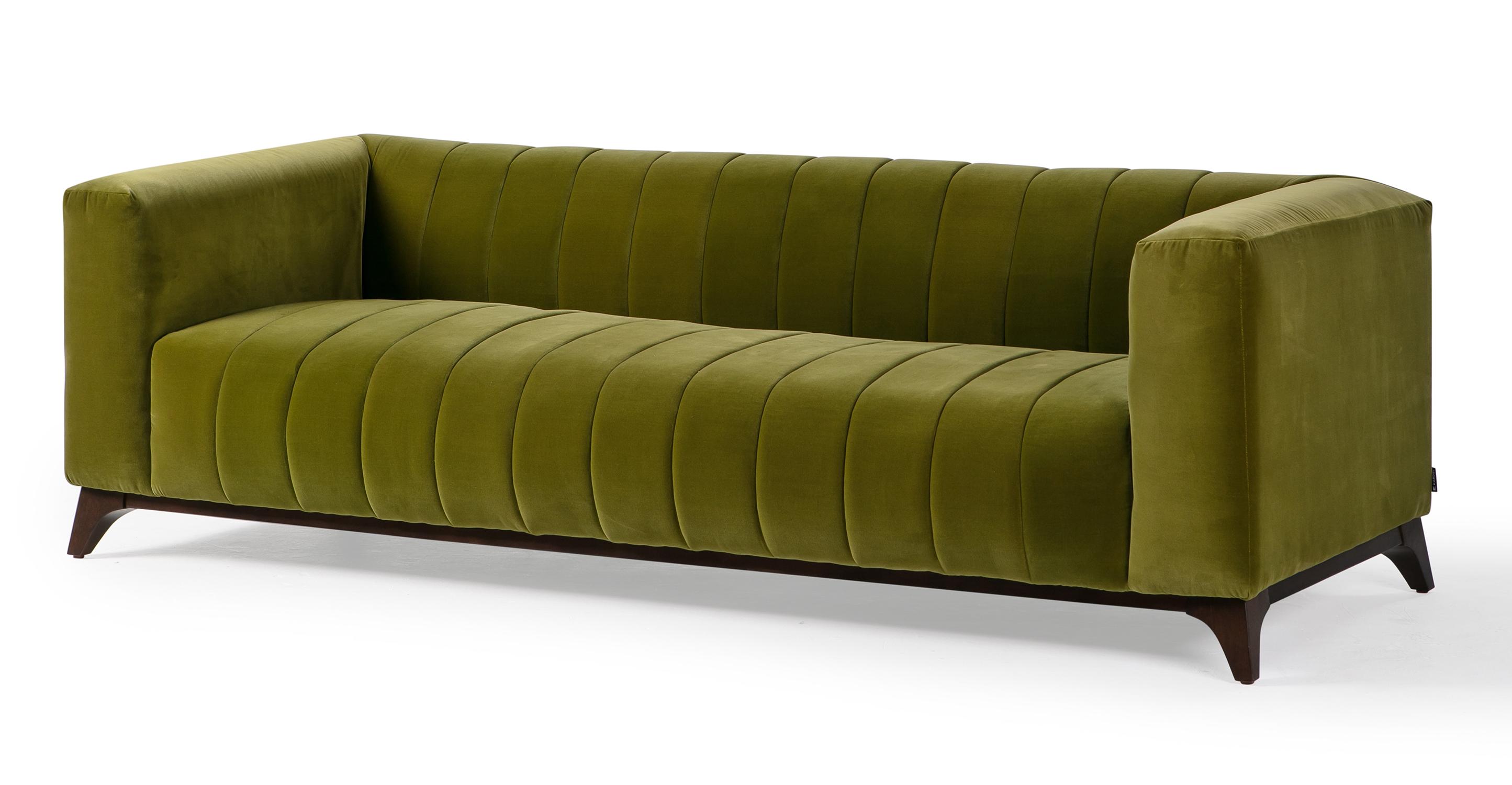 """Lucien 91"""" Fabric Sofa, Guac Velvet"""
