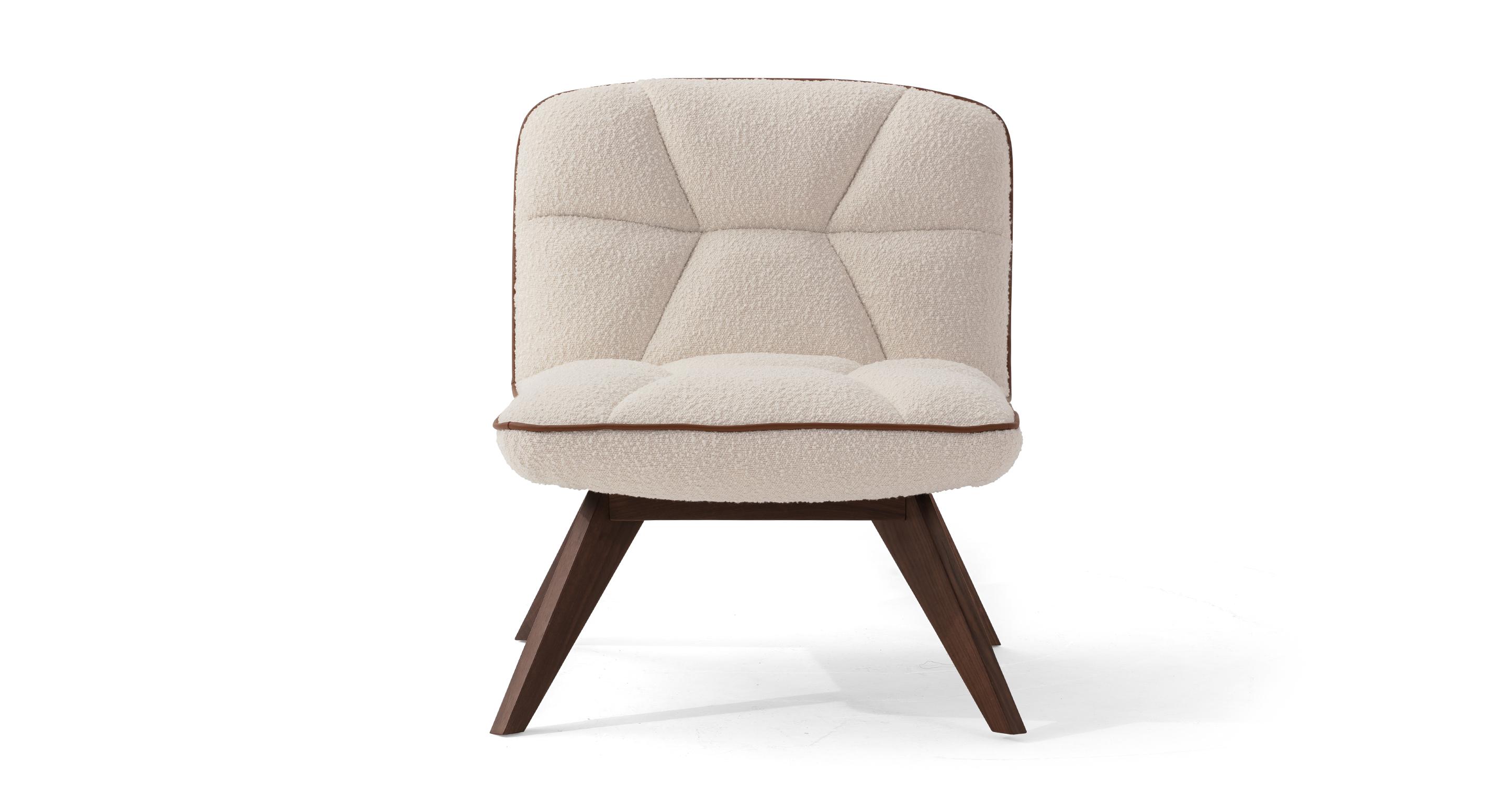 """Buckie 26"""" Fabric Chair, Blanc Boucle"""