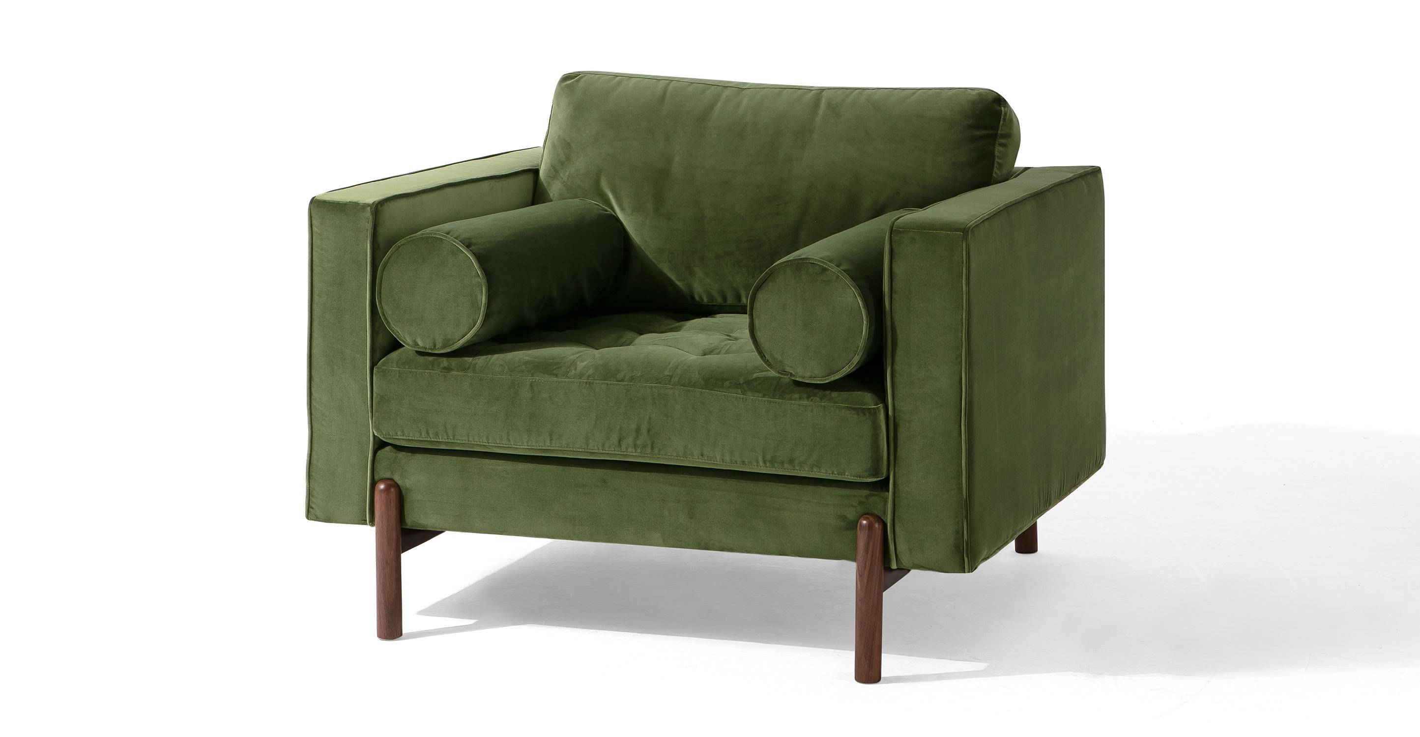 "Dwell 43"" Fabric Chair, Fern Velvet"