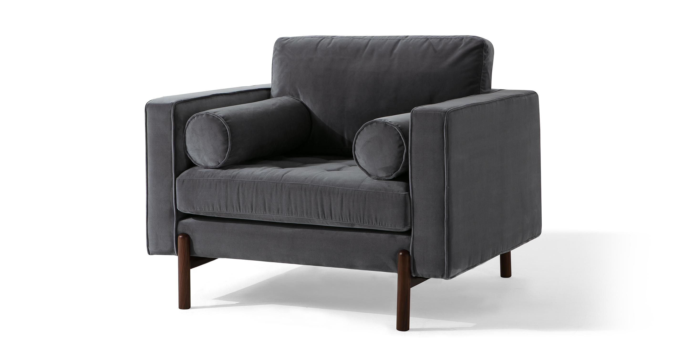 "Dwell 43"" Fabric Chair, Fossil Velvet"