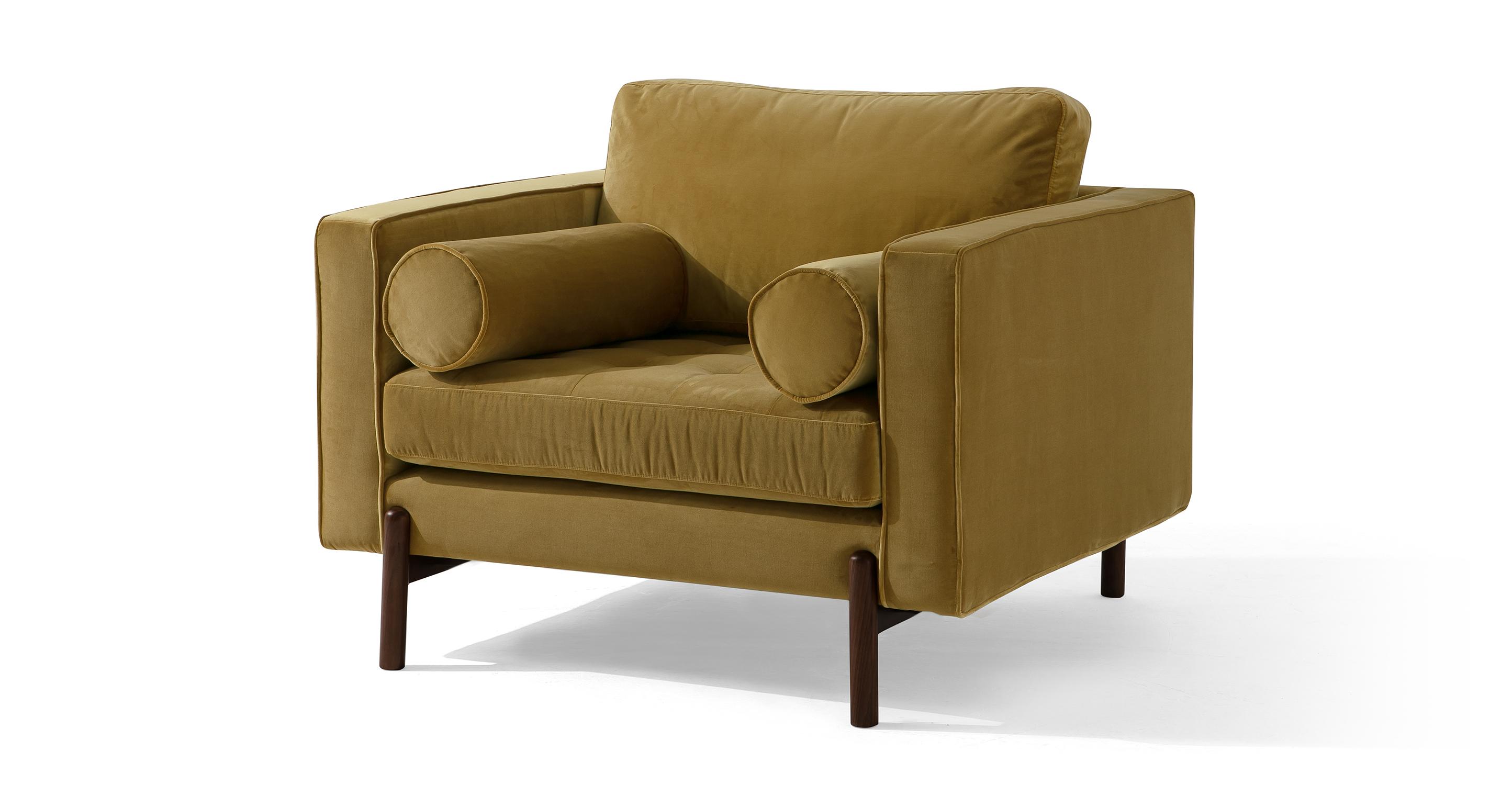 """Dwell 43"""" Fabric Chair, Merigold Velvet"""