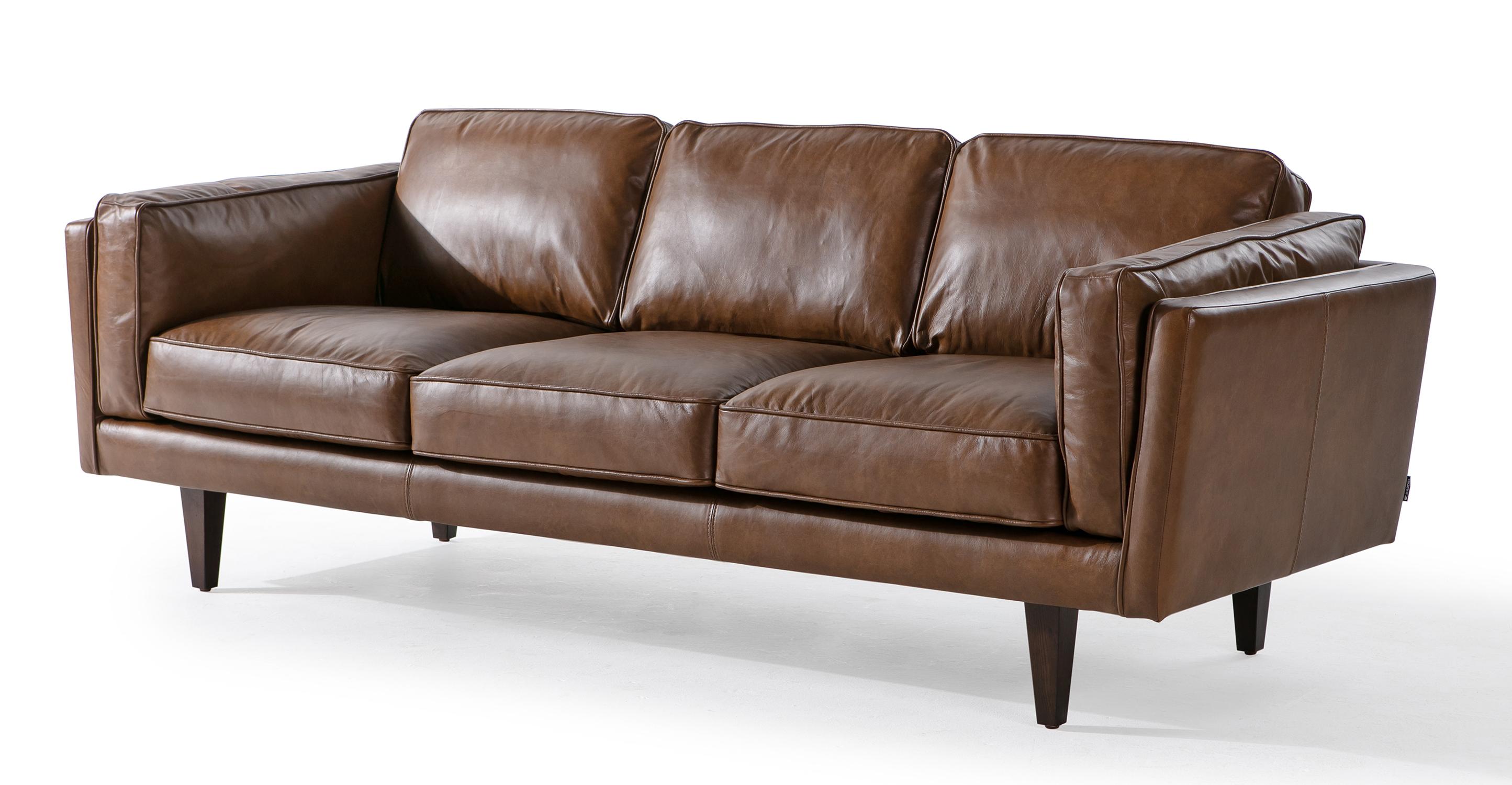 """Brooklyn 90"""" Leather Sofa, Napoli Tan"""