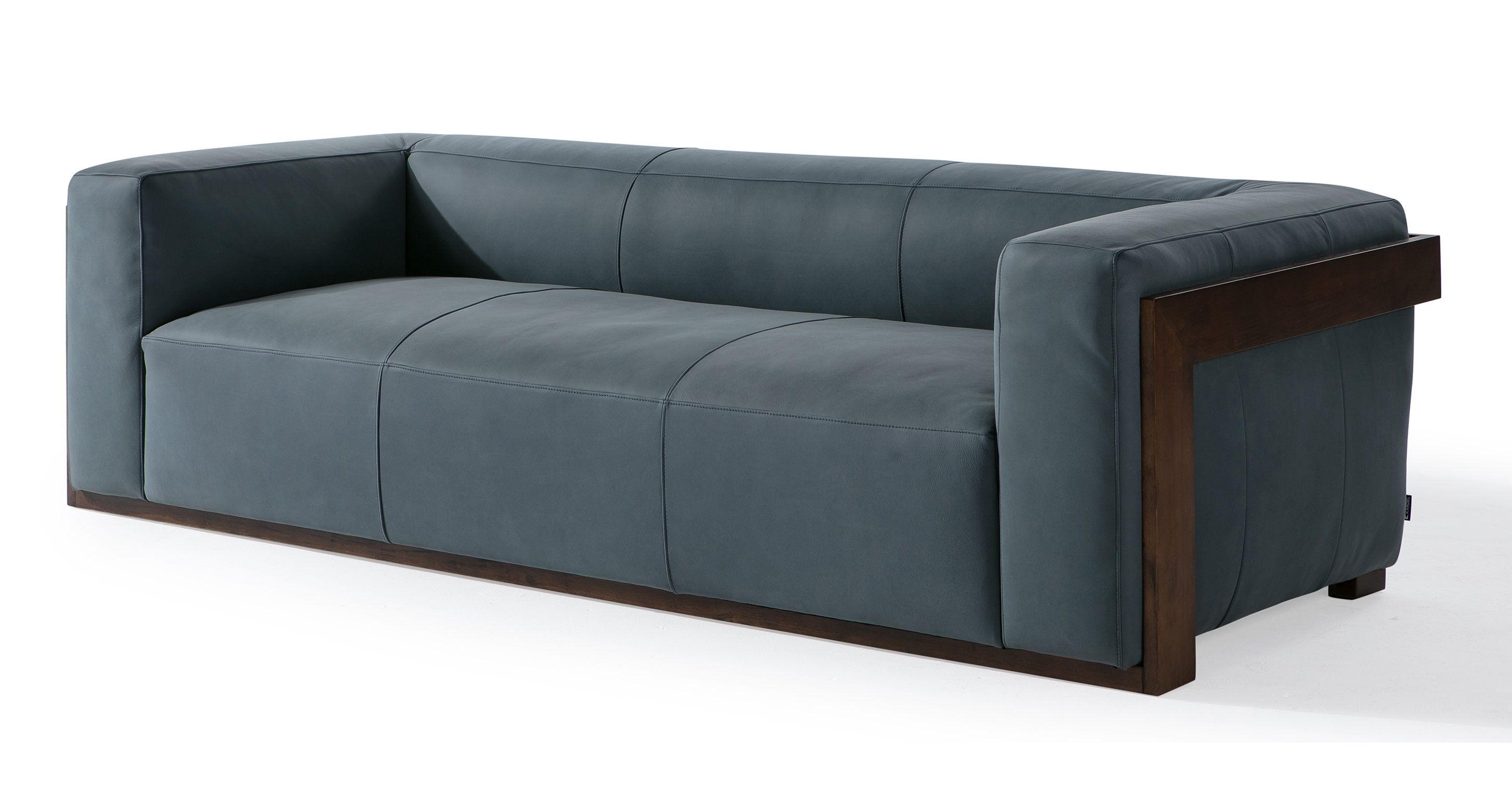 "Maddox 95"" Leather Sofa, Azure Nubuck"