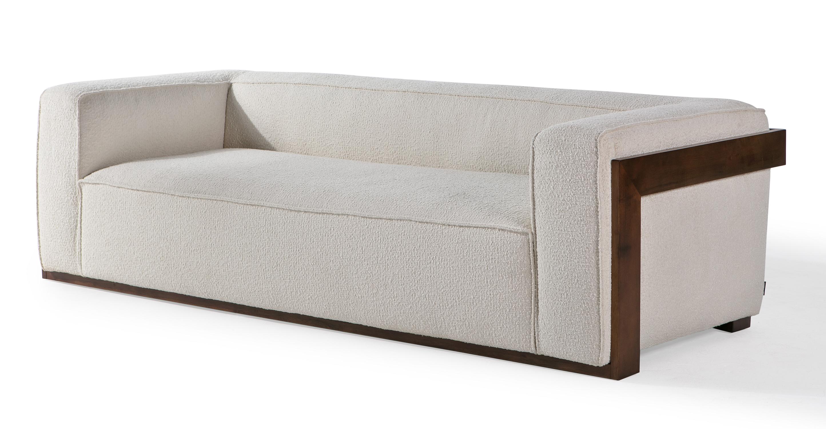 "Maddox 95"" Fabric Sofa, Cream Boucle"