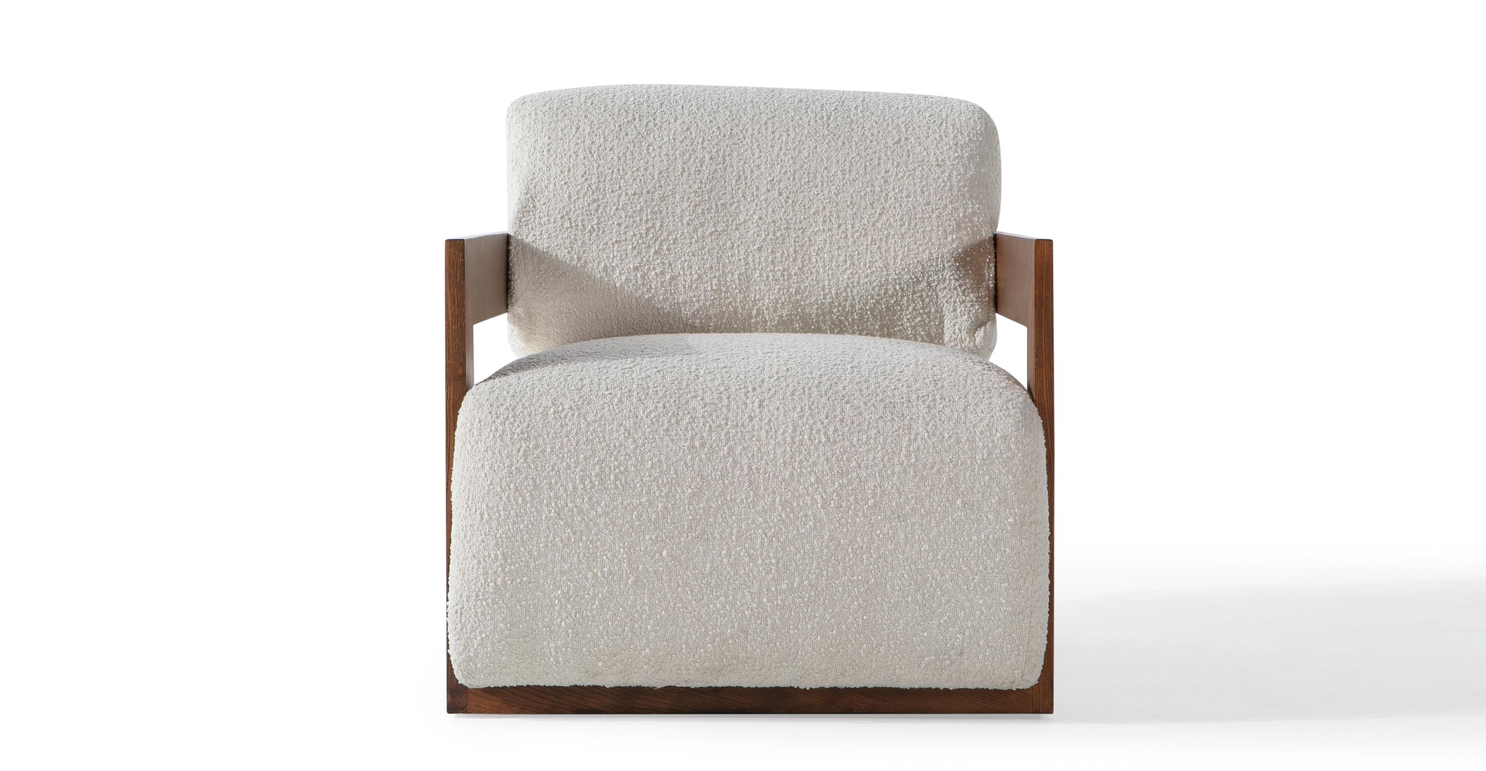 "Maddox 28"" Fabric Chair, Cream Boucle"
