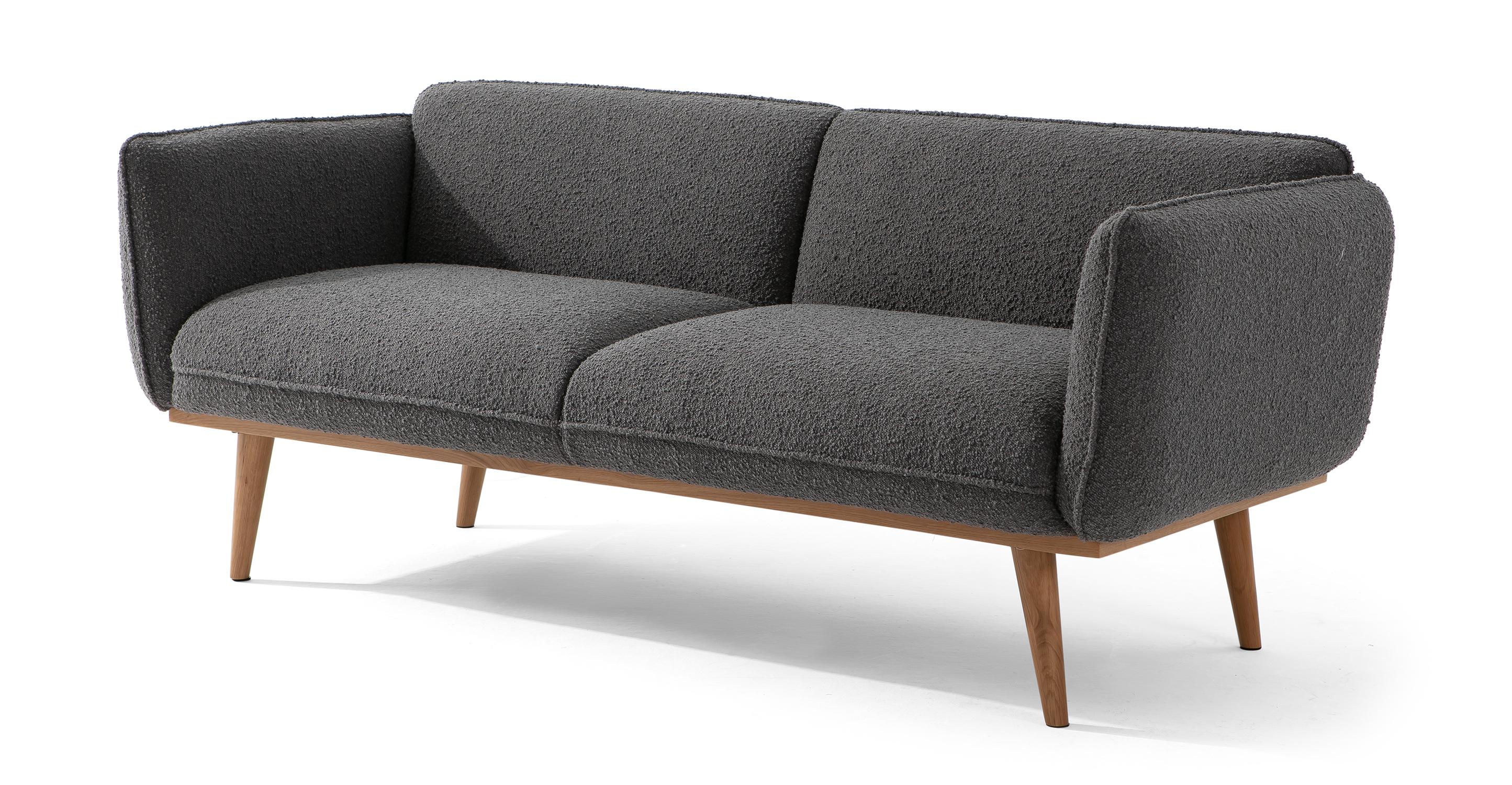 "Bonaparte 73"" Fabric Sofa, Gris Boucle"