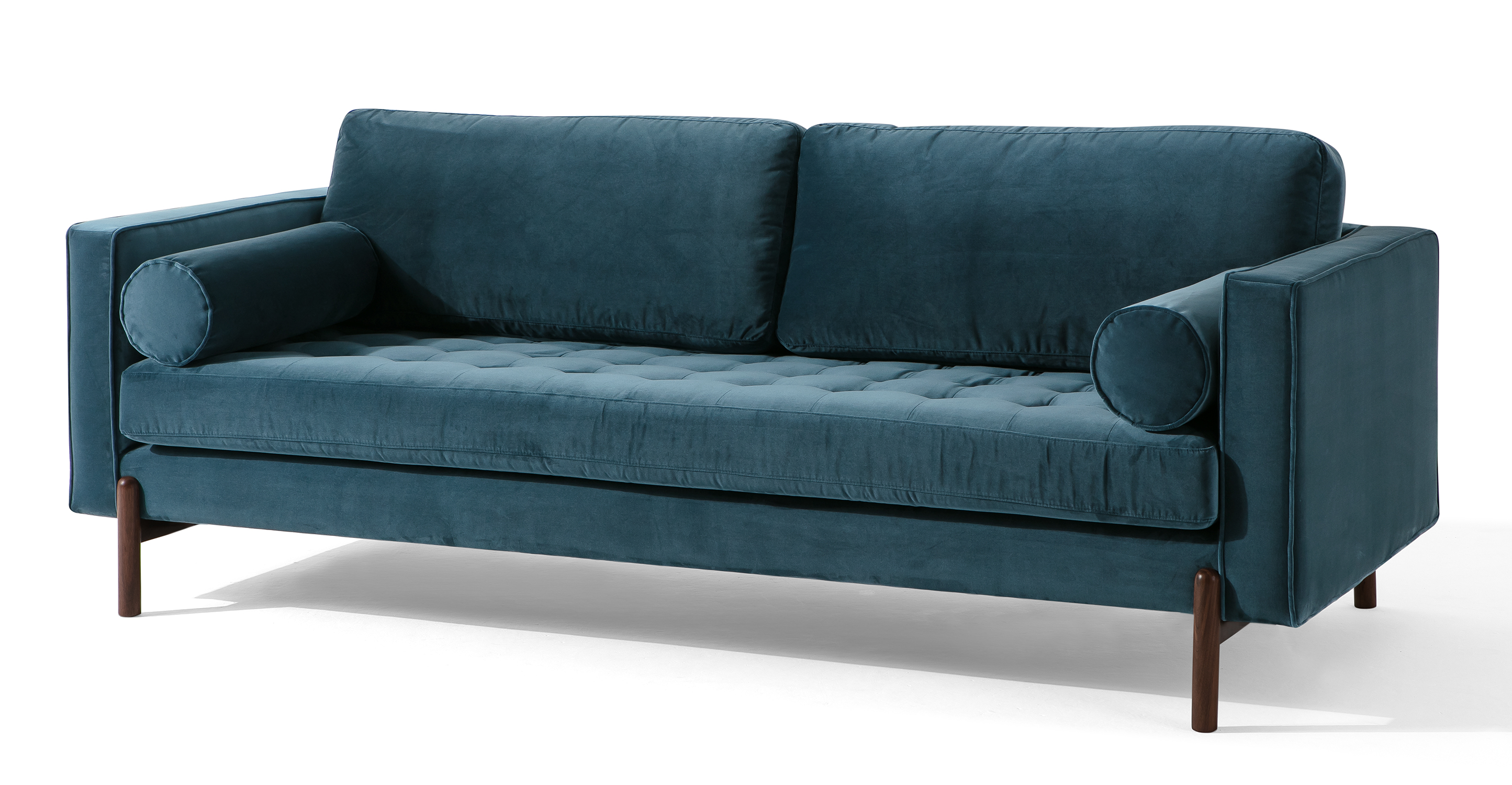"Dwell 88"" Fabric Sofa, Petrol Velvet"