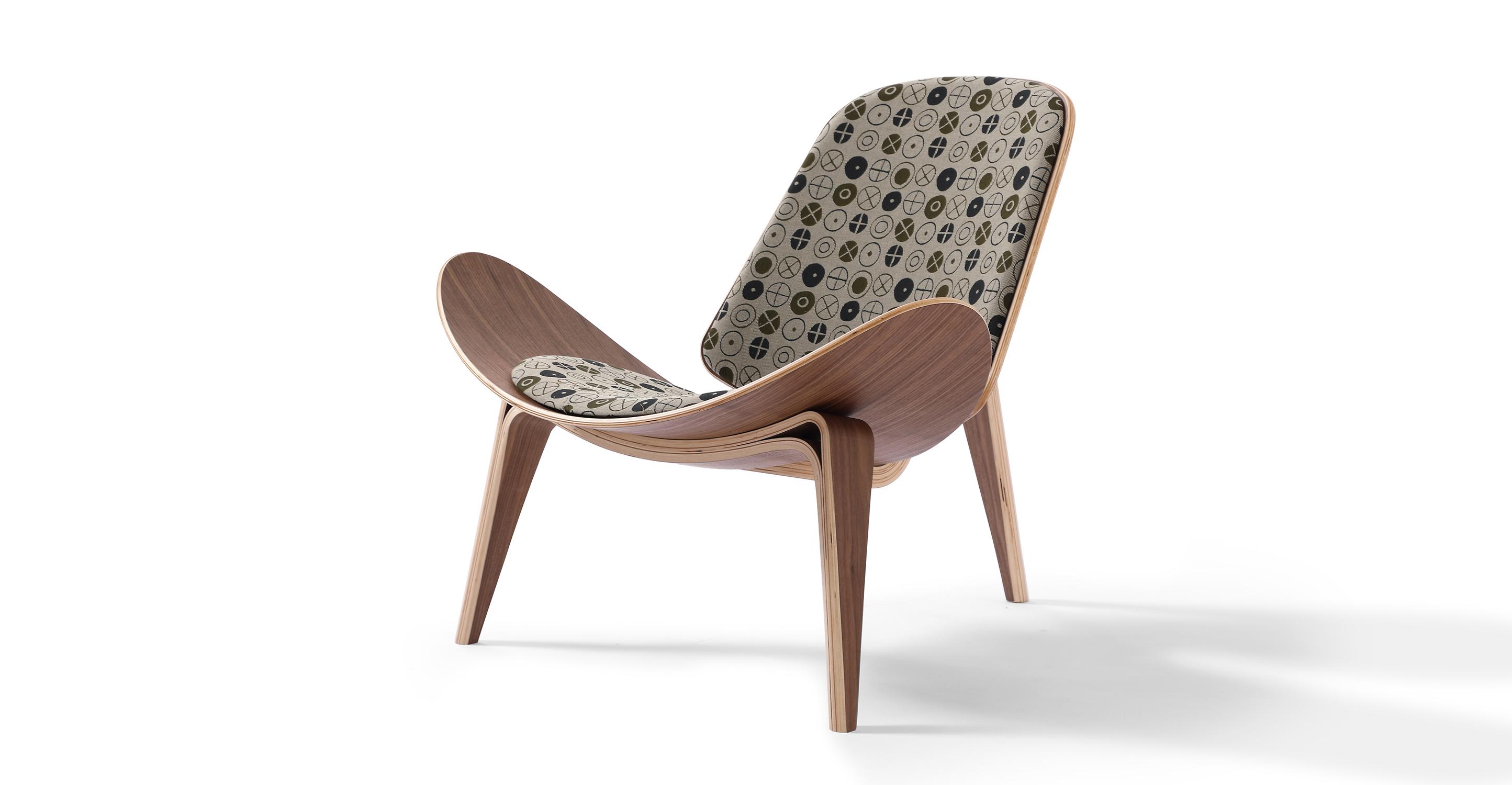 "Tripod 36"" Fabric Chair, Walnut/Circles Fatigue"