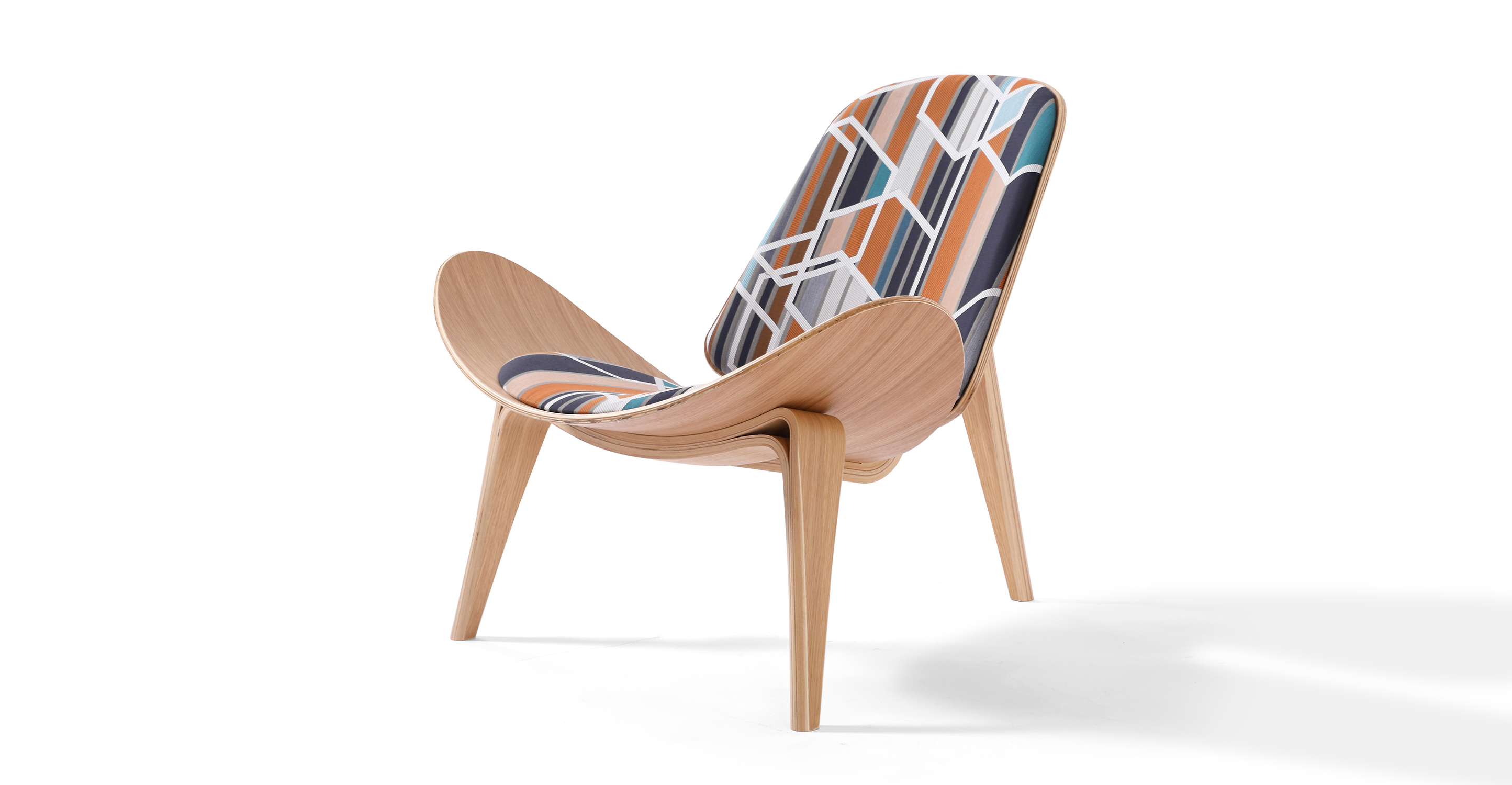 "Tripod 36"" Fabric Chair, Oak/Agency Sienna"