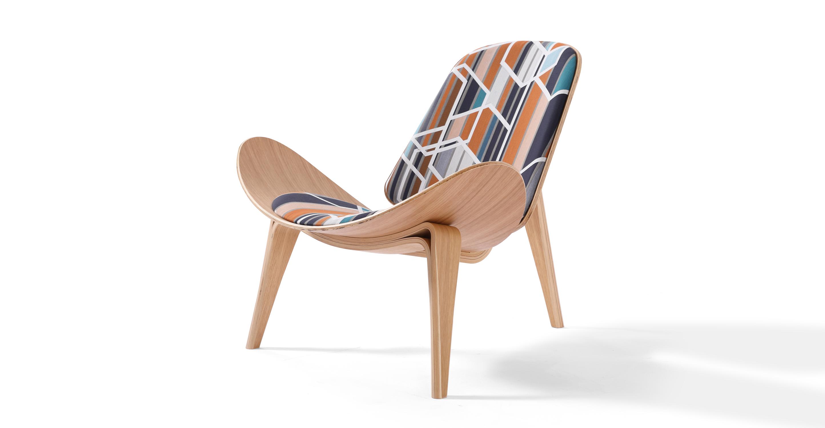 """Tripod 36"""" Fabric Chair, Oak/Agency Sienna"""