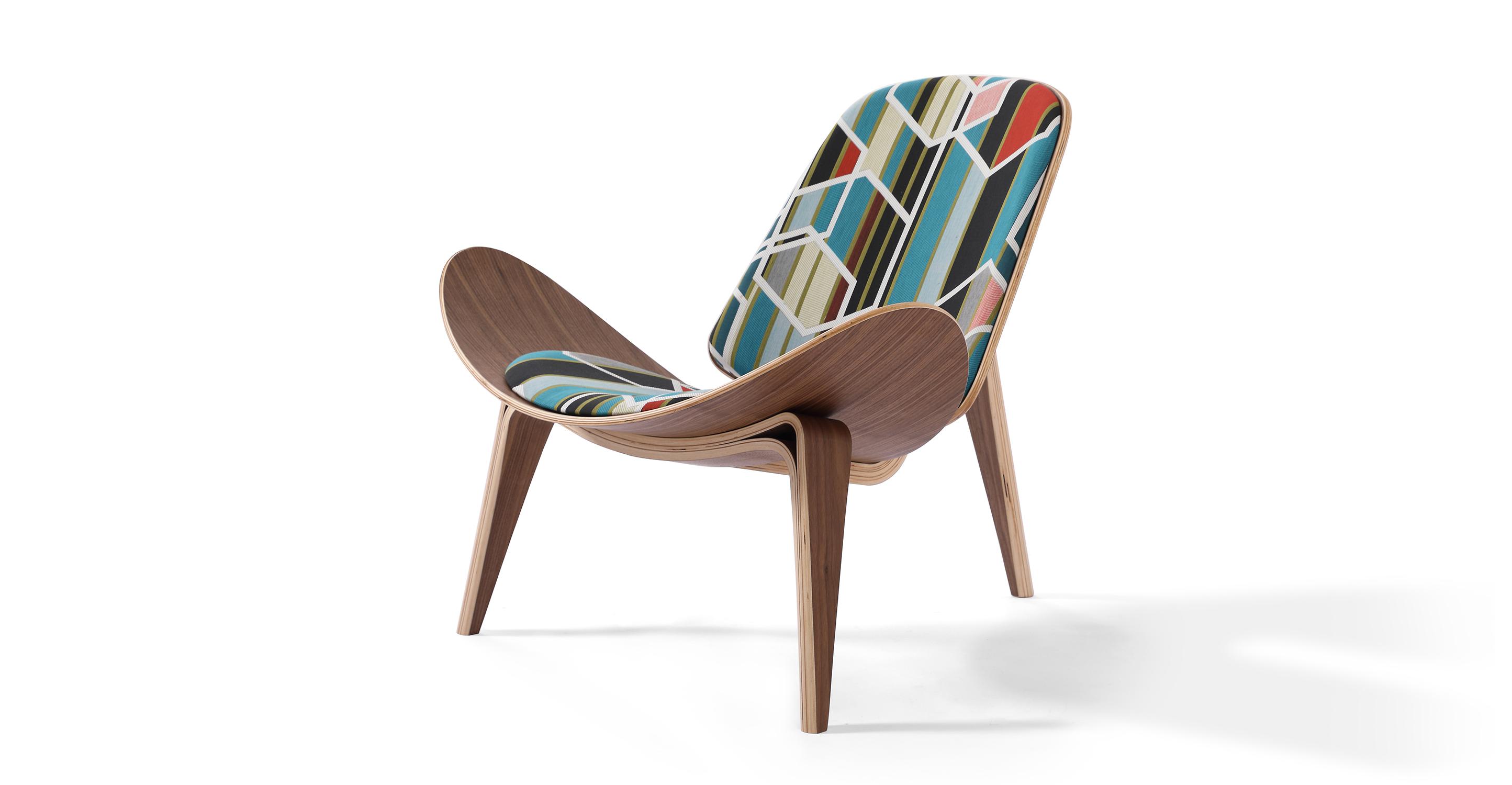 """Tripod 36"""" Fabric Chair, Walnut/Agency Unique"""
