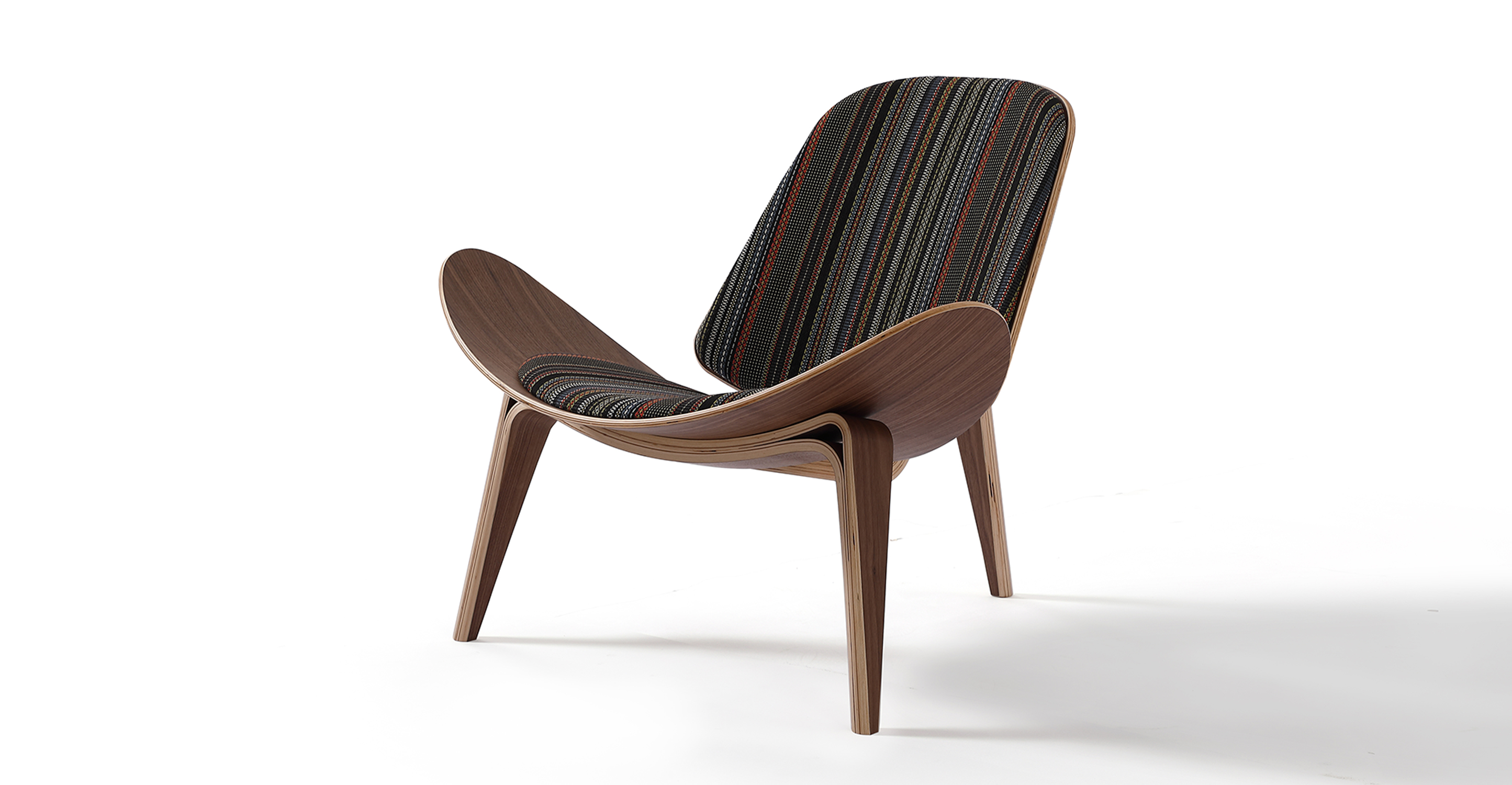 "Tripod 36"" Fabric Chair, Walnut/Point Slate"
