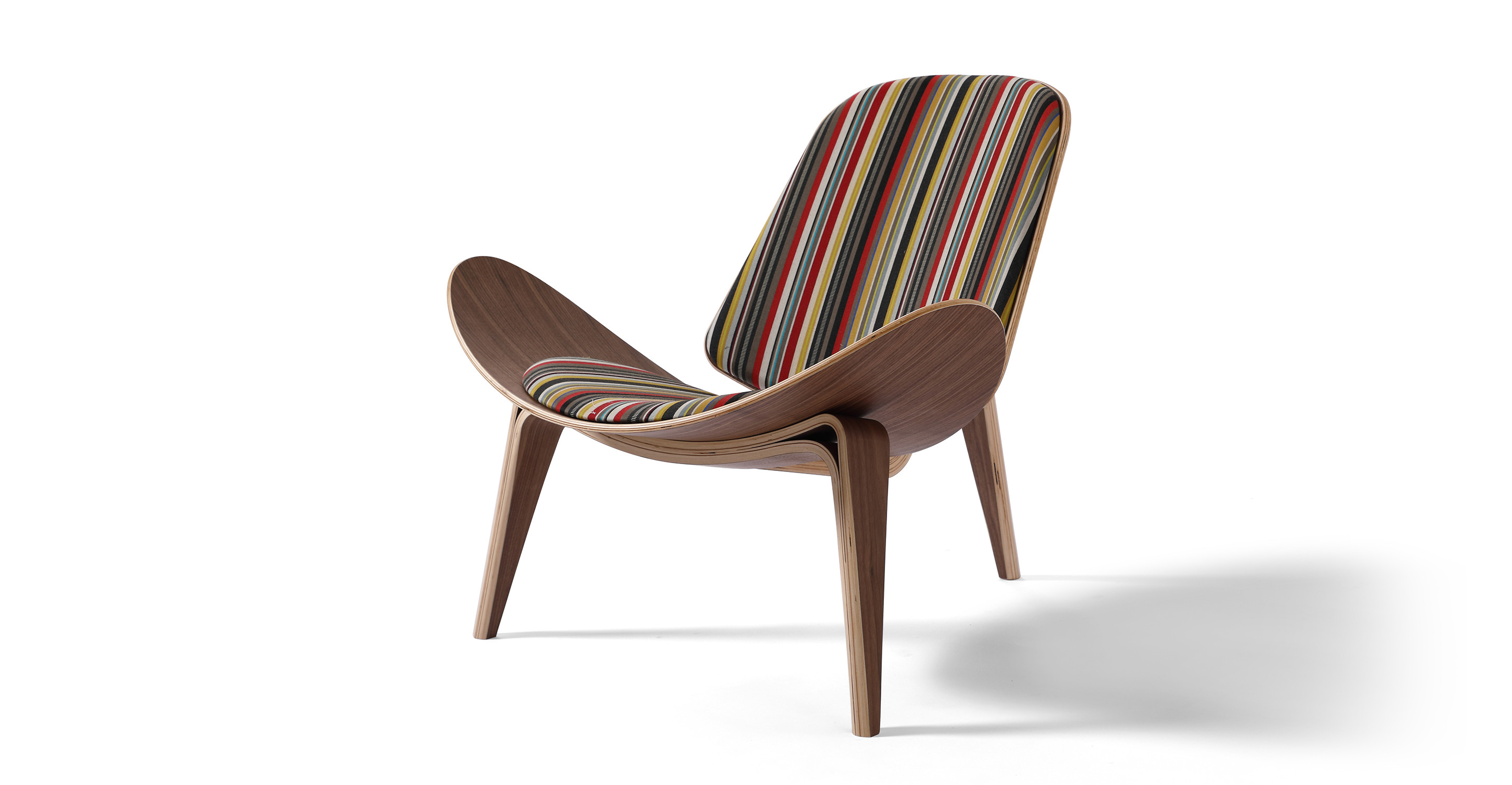 "Tripod 36"" Fabric Chair, Walnut/Ottoman Stripe"