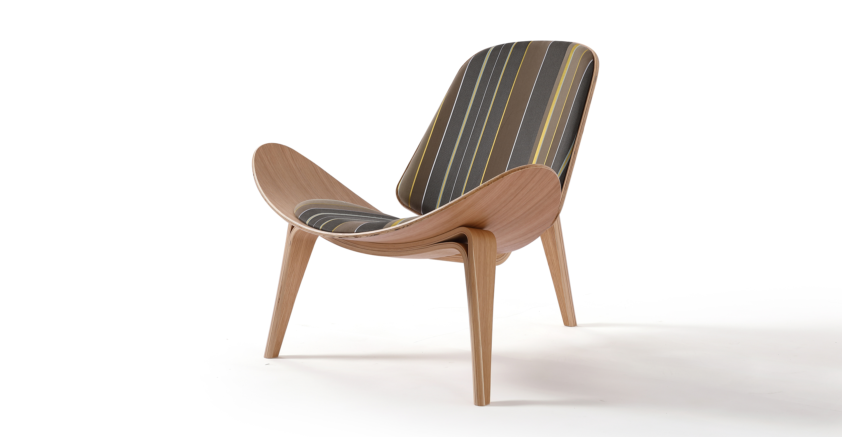 "Tripod 36"" Fabric Chair, Oak/Desert Stripe"
