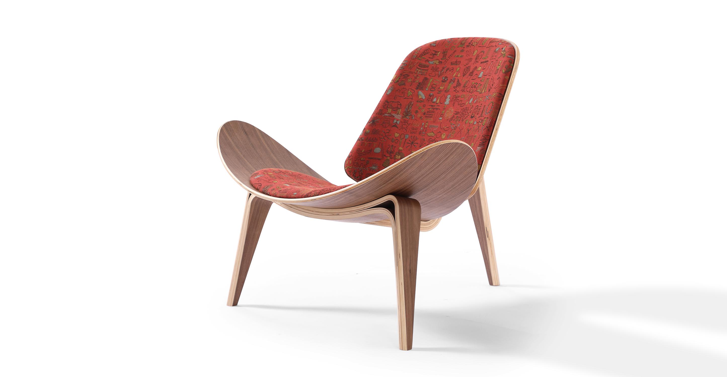 """Tripod 36"""" Fabric Chair, Walnut/Sahara"""