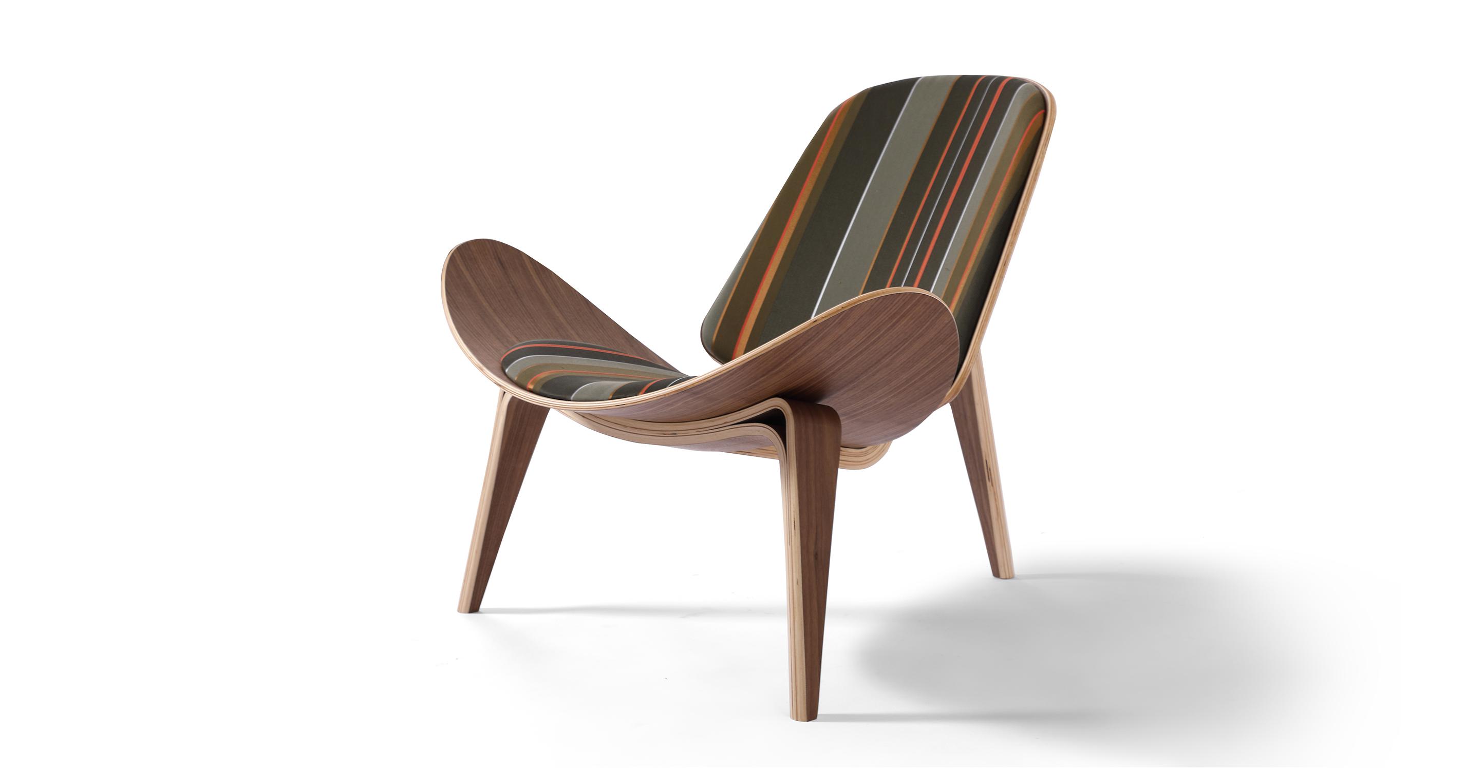 "Tripod 36"" Fabric Chair, Walnut/Bespoke Stripe"