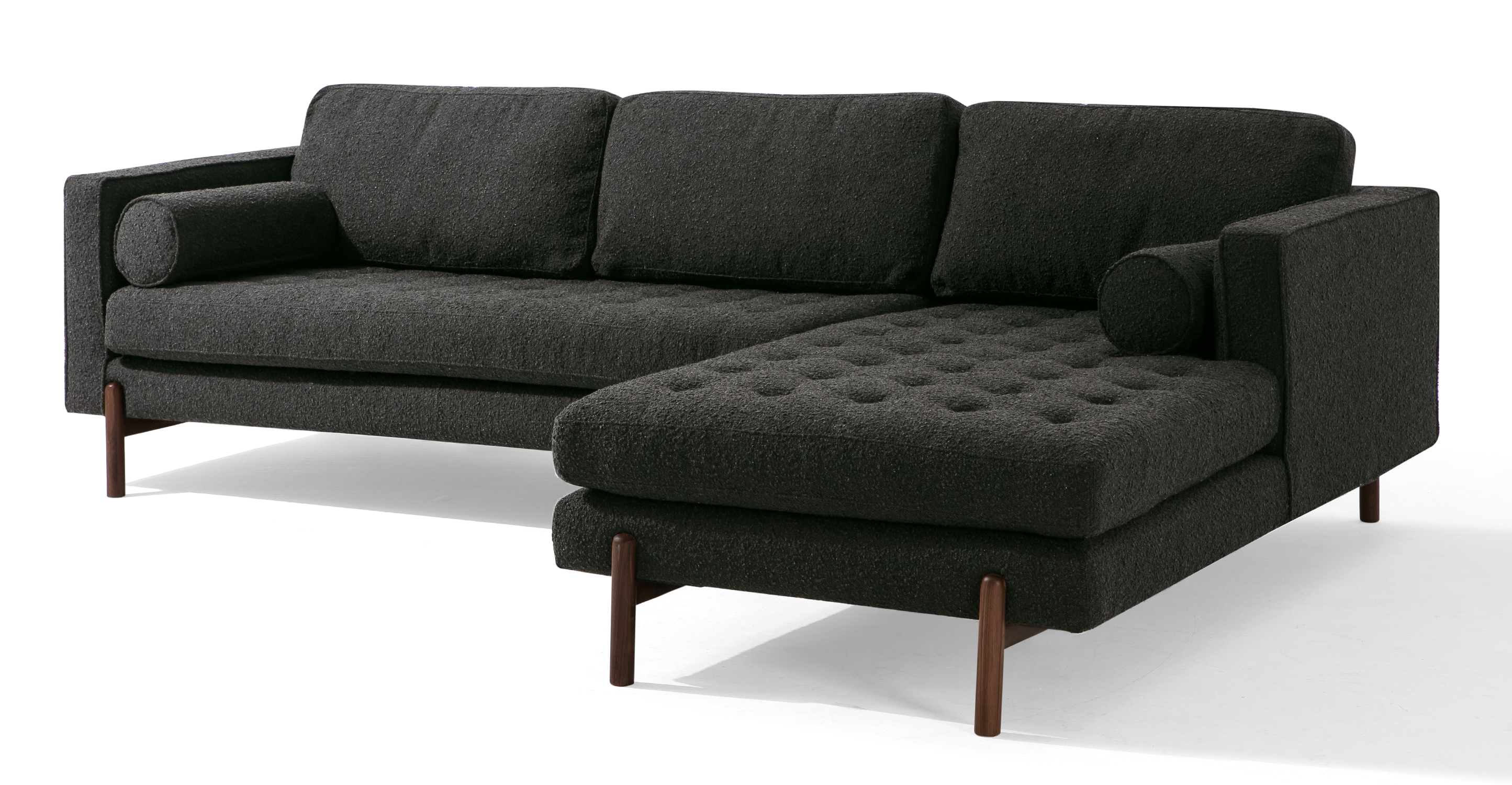 "Dwell 108"" Fabric Sofa Sectional Right, Noir Boucle"