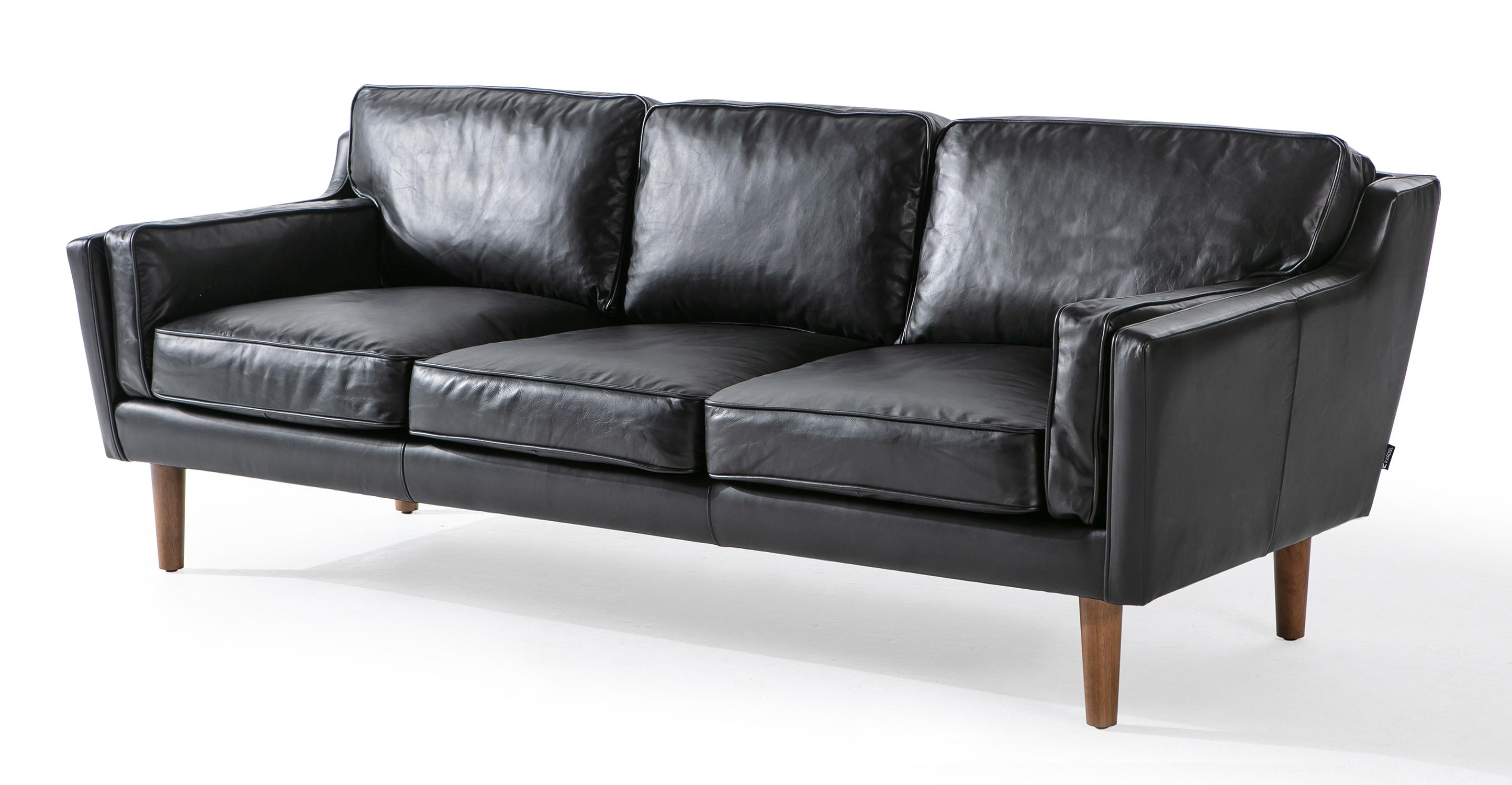"Beatnik 86"" Leather Sofa, Napoli Black"