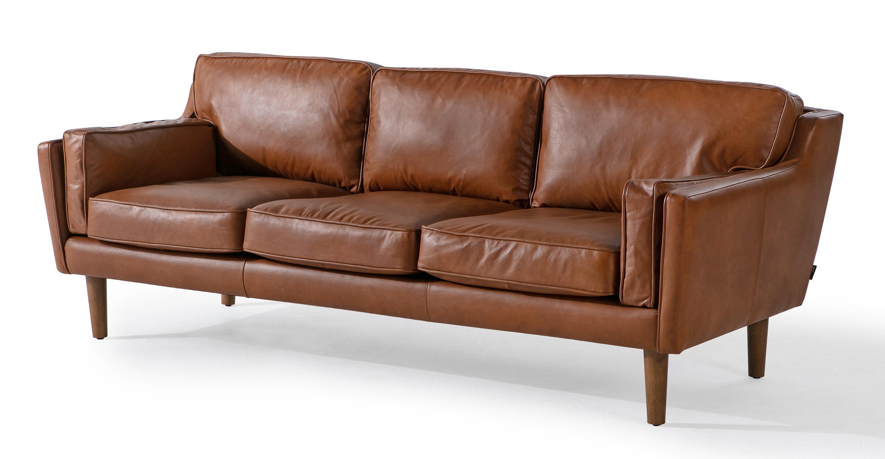 "Beatnik 86"" Leather Sofa, Napoli Spice"
