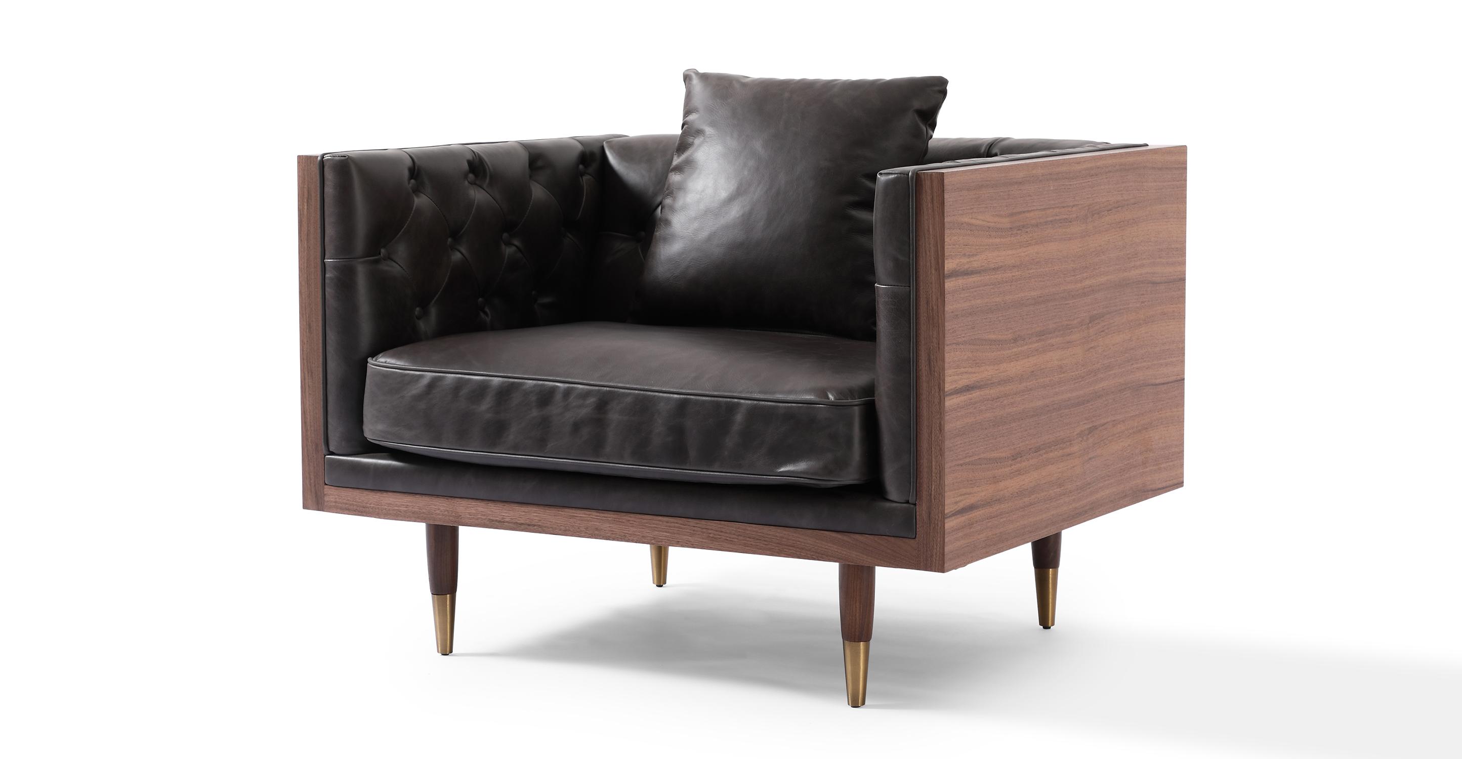 "Woodrow Neo 39"" Leather Chair, Walnut/Saddle Black"