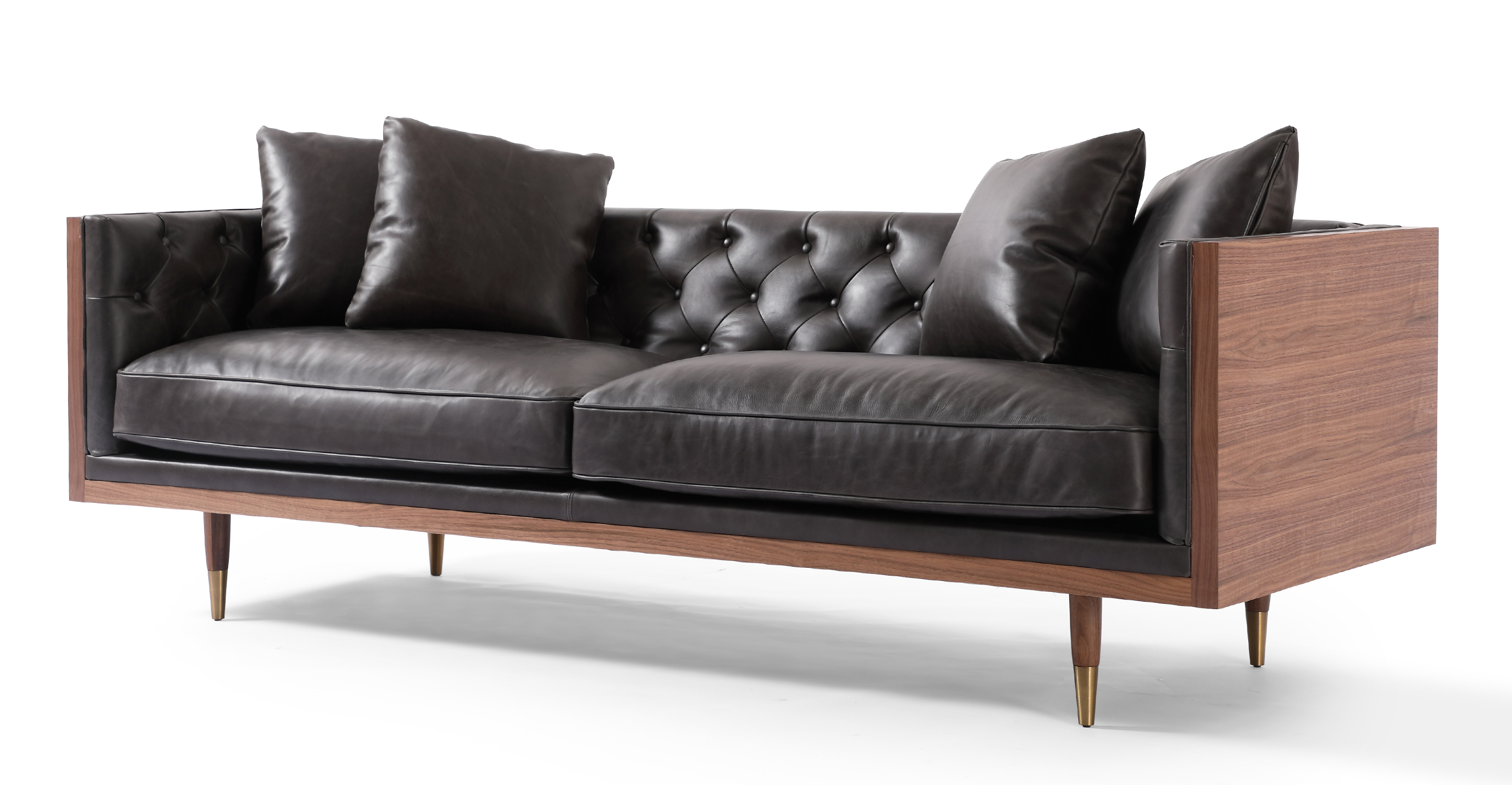 "Woodrow Neo 87"" Leather Sofa, Walnut/Saddle Black"