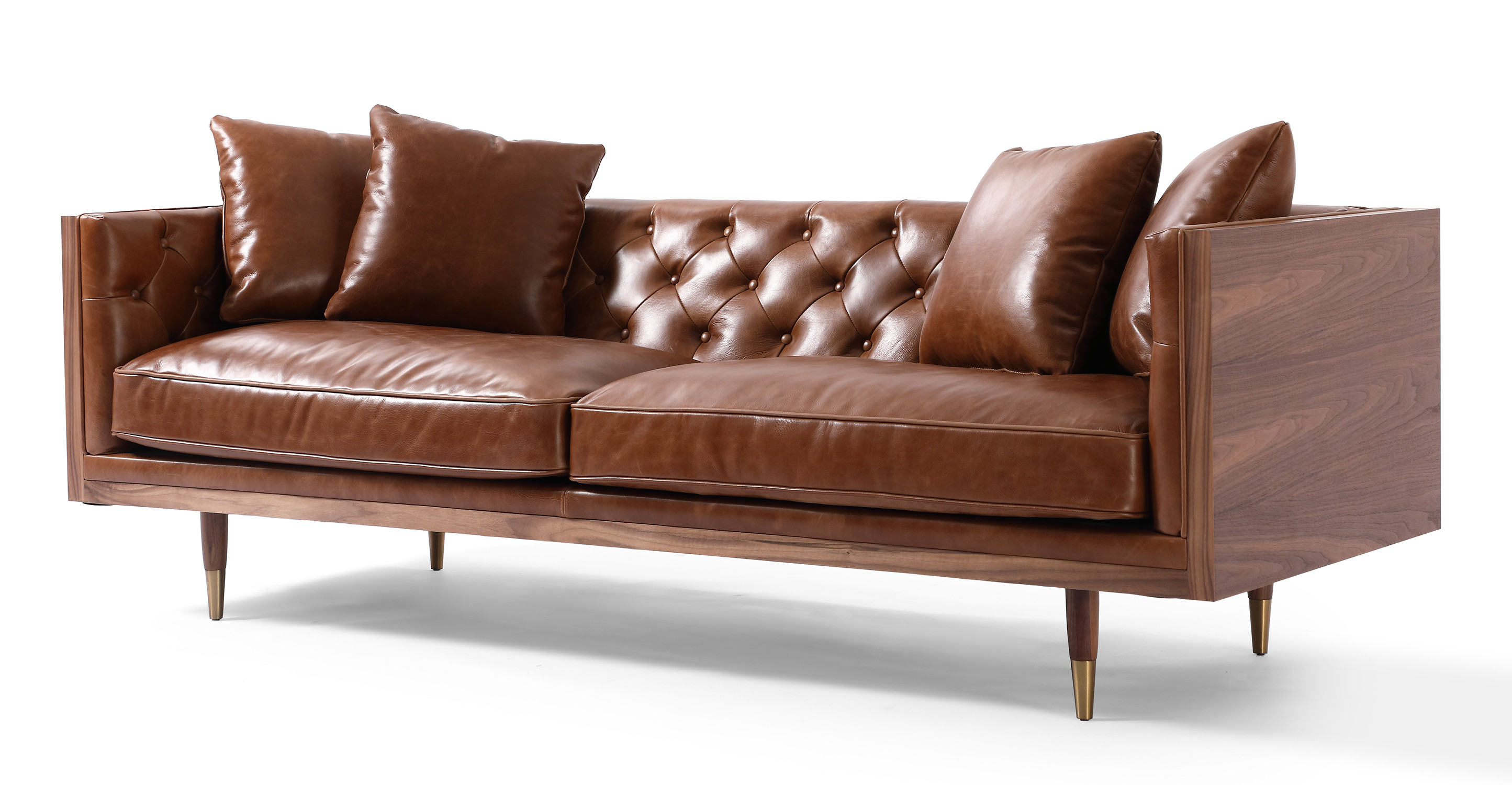 "Woodrow Neo 87"" Leather Sofa, Walnut/Saddle Brown"