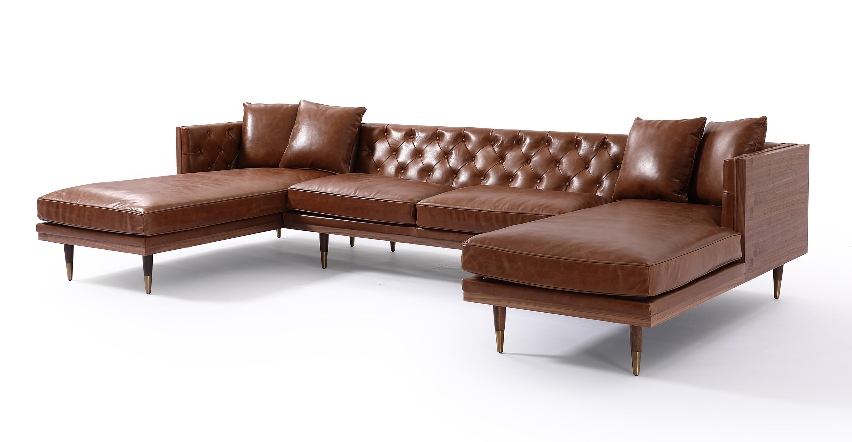 "Woodrow Neo 126"" Leather Sofa U-Sectional, Walnut/Saddle Brown"