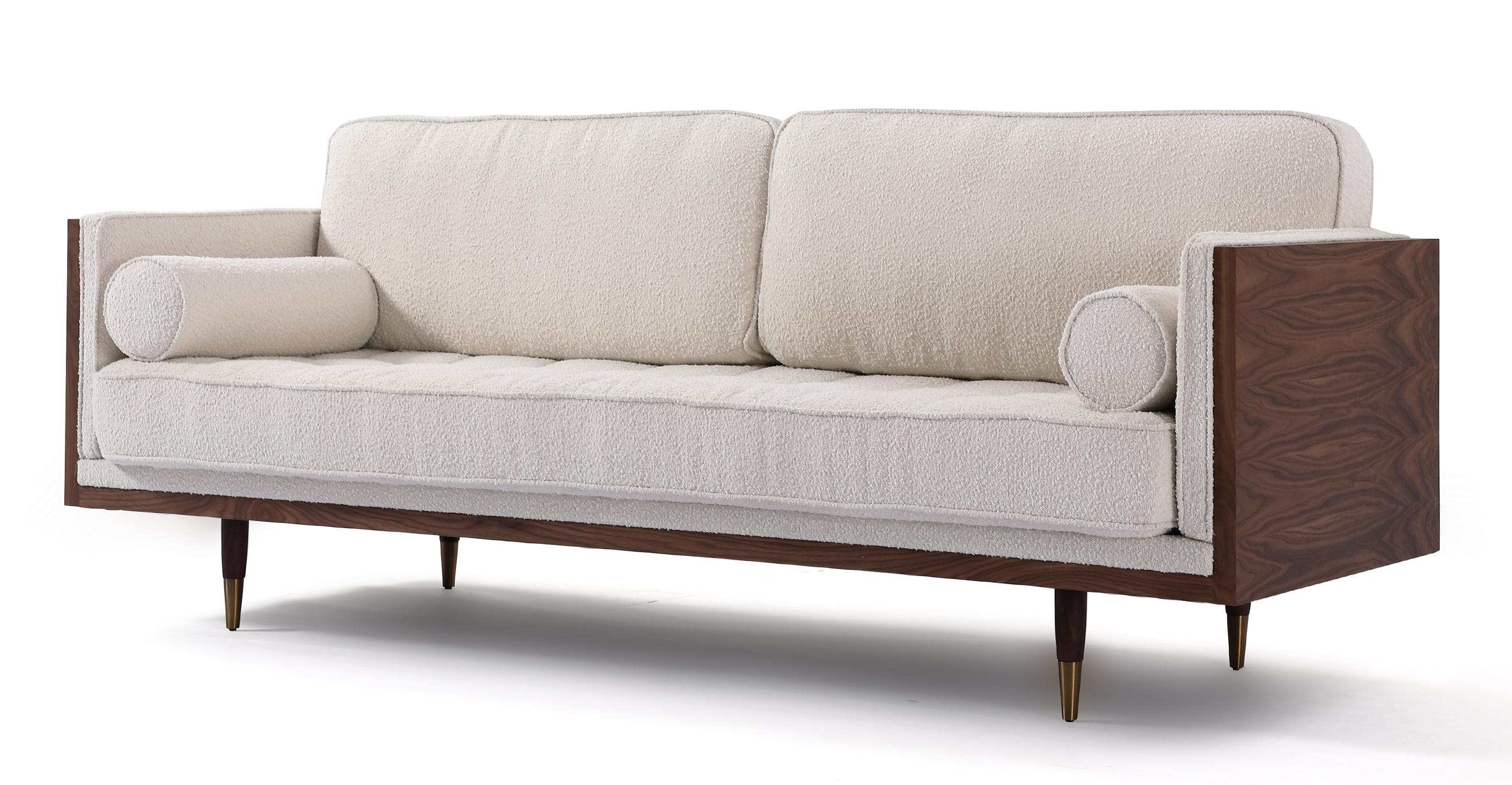 "Woodrow Skandi 87"" Fabric Sofa, Walnut/Blanc Boucle"