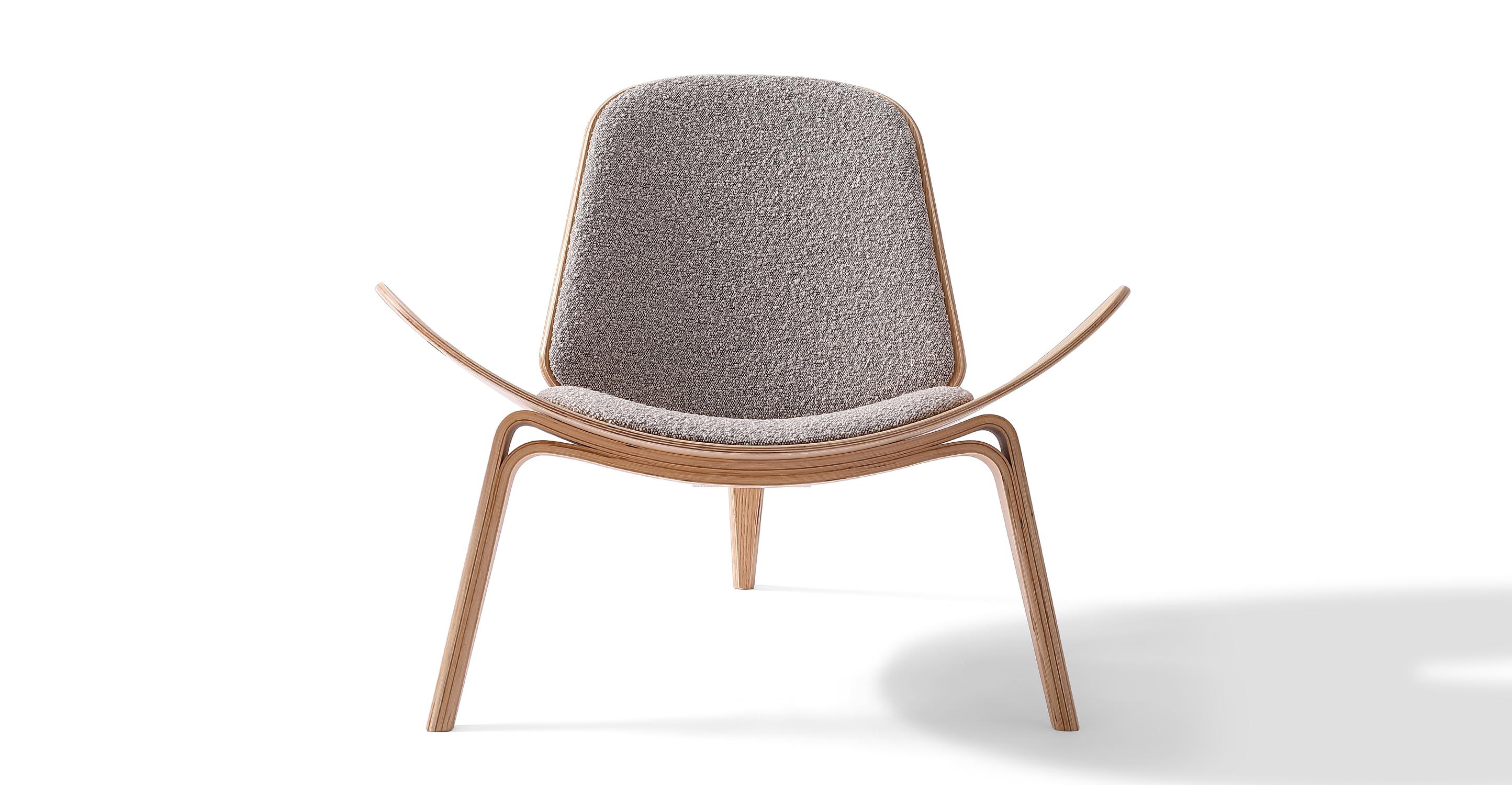Tripod Fabric Chair 2-pc Set, Oak/Bocce Boucle