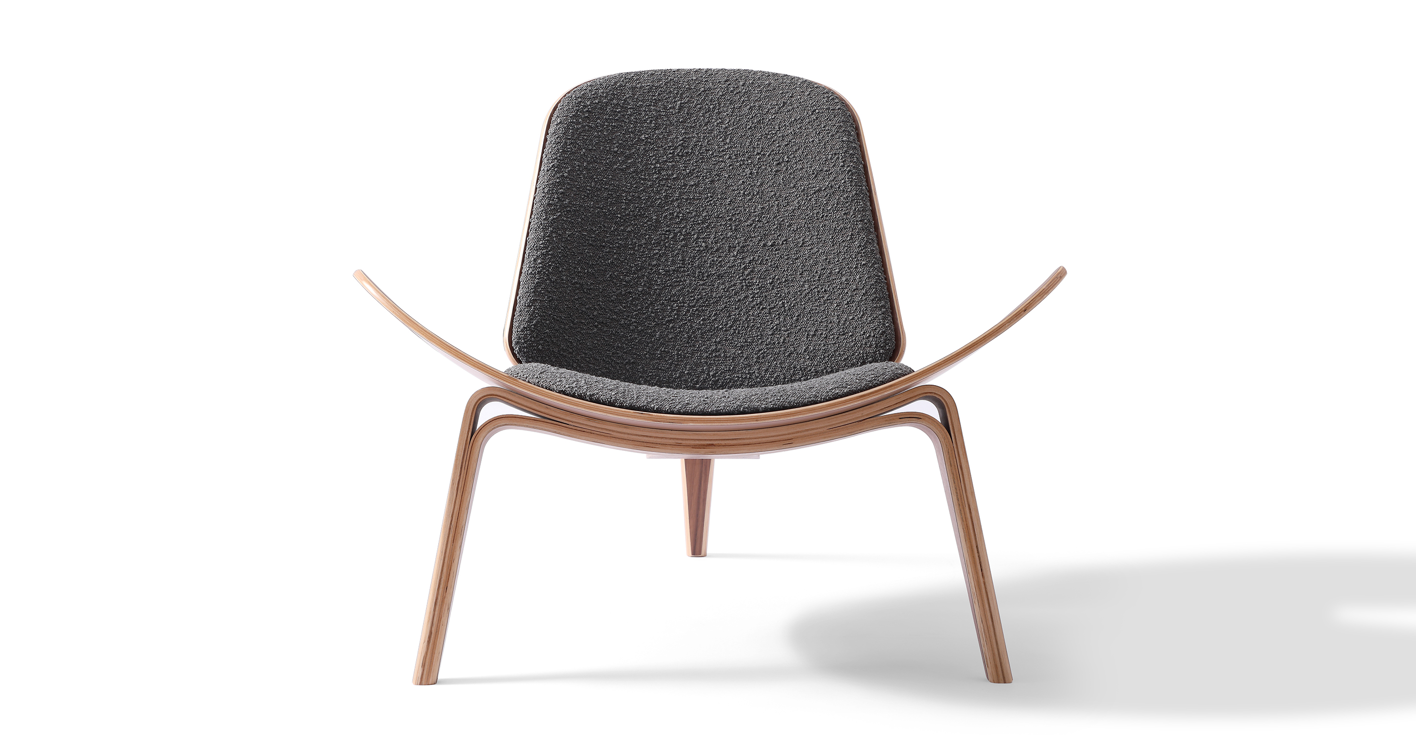 Tripod Fabric Chair 2-pc Set, Walnut/Gris Boucle