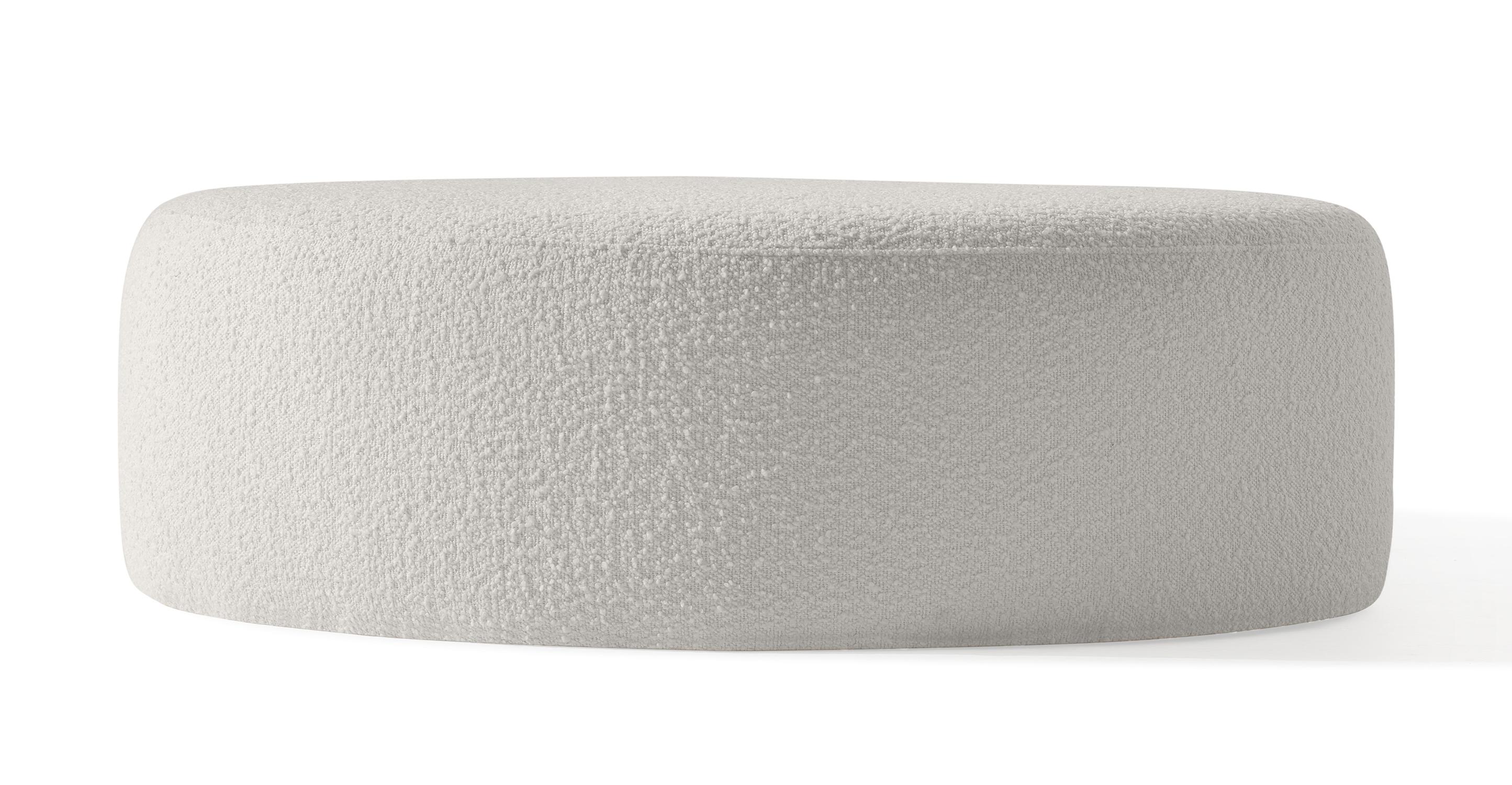 "Spool 37"" Fabric Ottoman, Blanc Boucle"