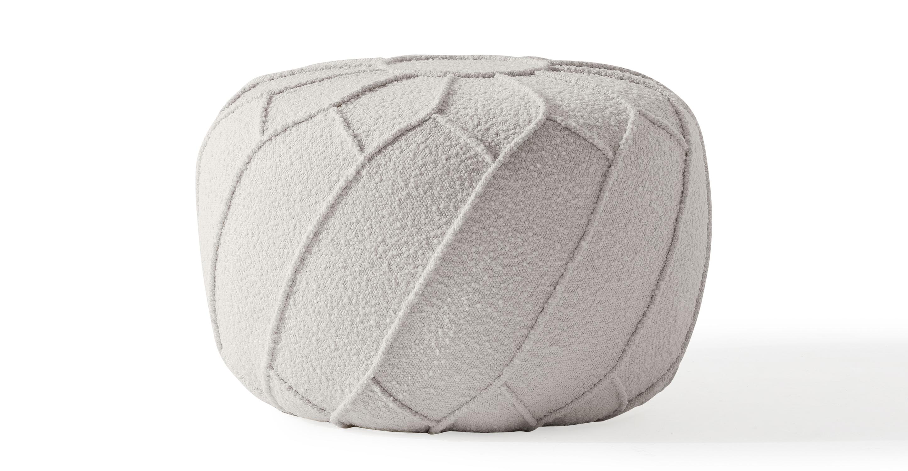 """Mosaic 23"""" Fabric Ottoman, Blanc Boucle"""
