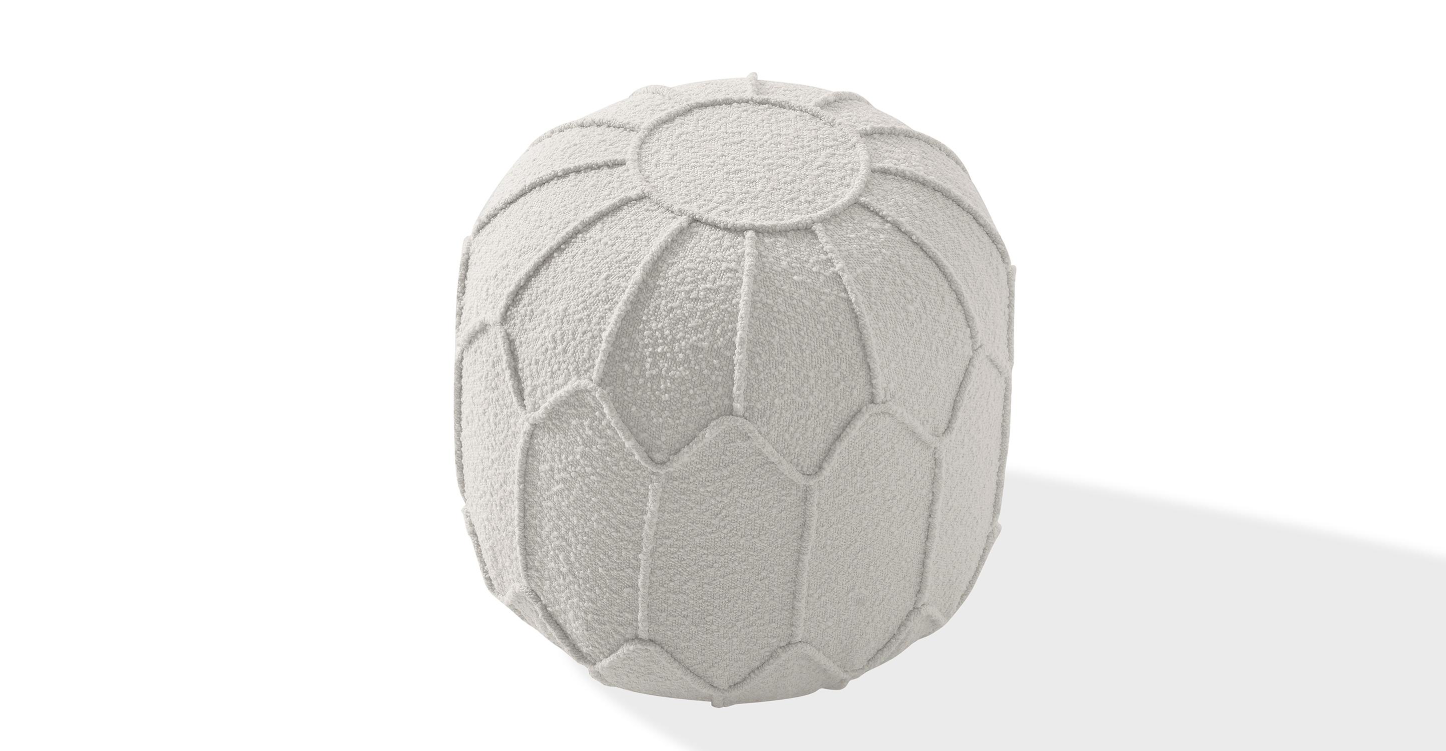 """Mosaic 20"""" Fabric Ottoman, Blanc Boucle"""