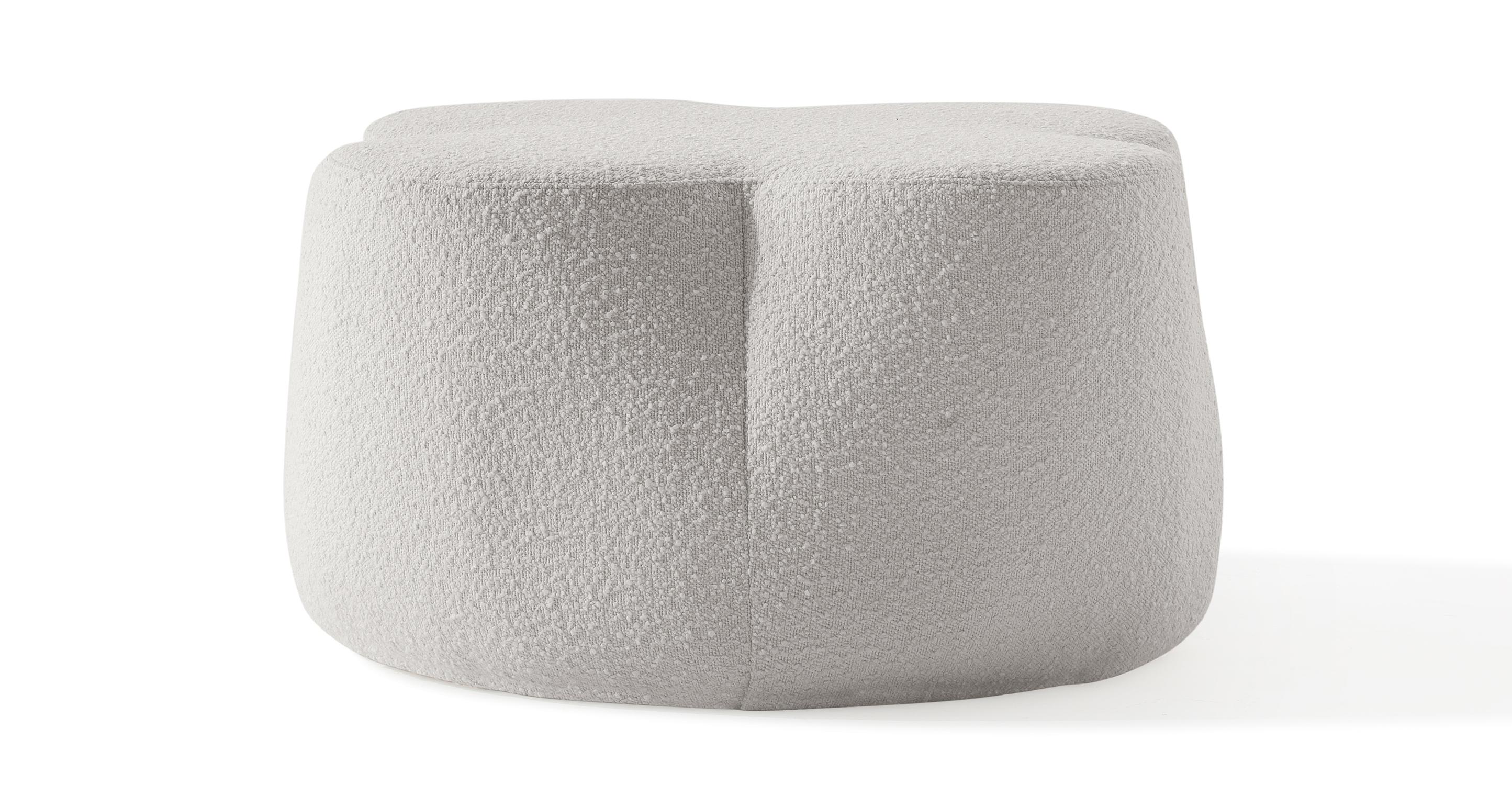 """Buttercup 30"""" Fabric Ottoman, Blanc Boucle"""