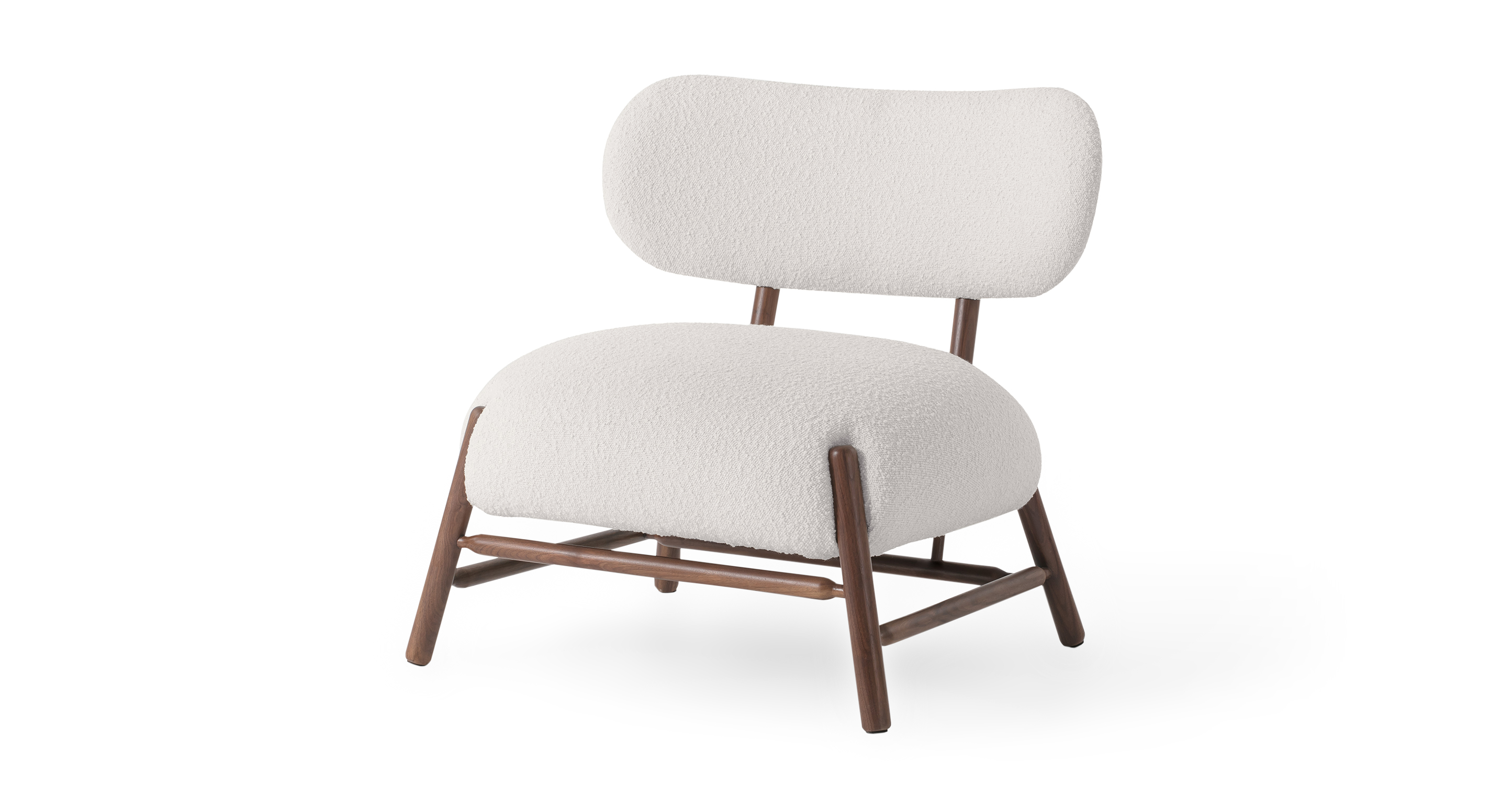 """Mouse 33"""" Fabric Chair, Blanc Boucle"""