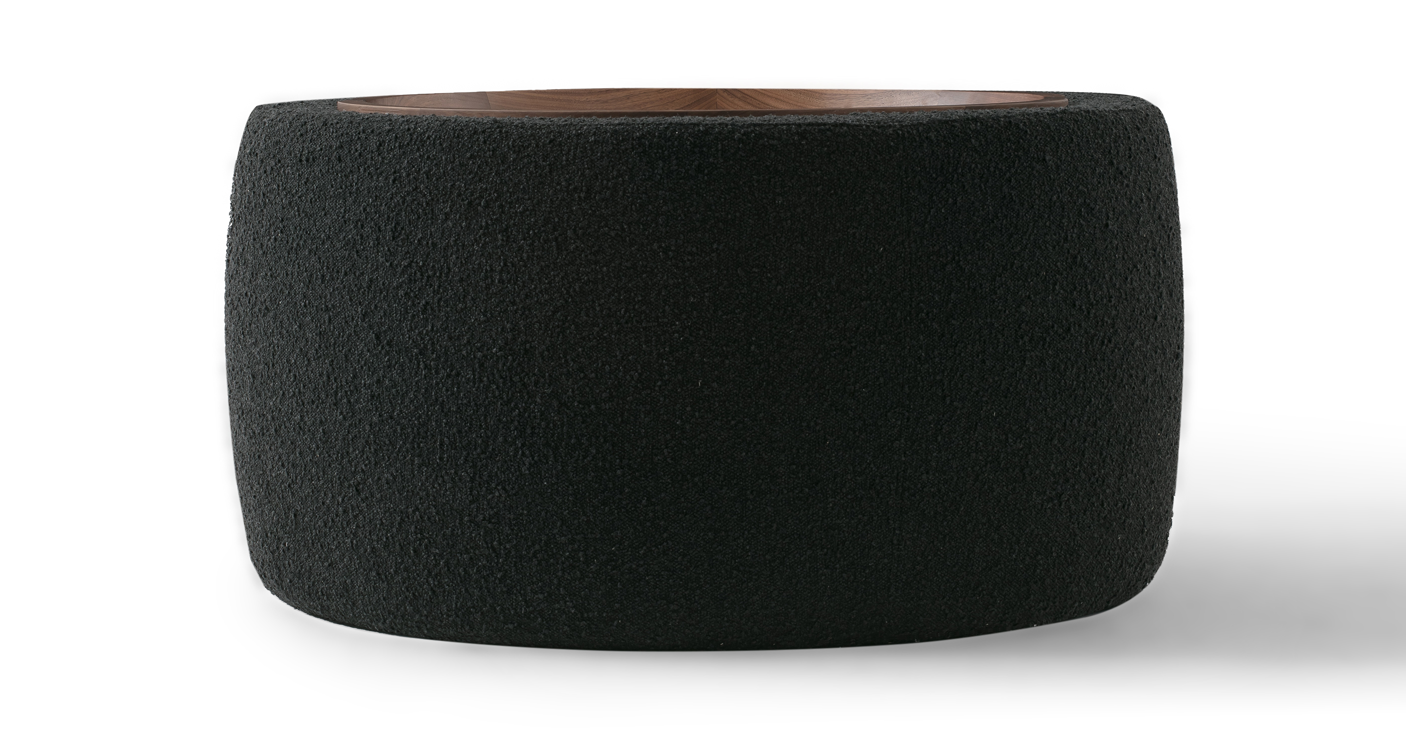 "Grover 36"" Fabric Storage Ottoman, Noir Boucle"