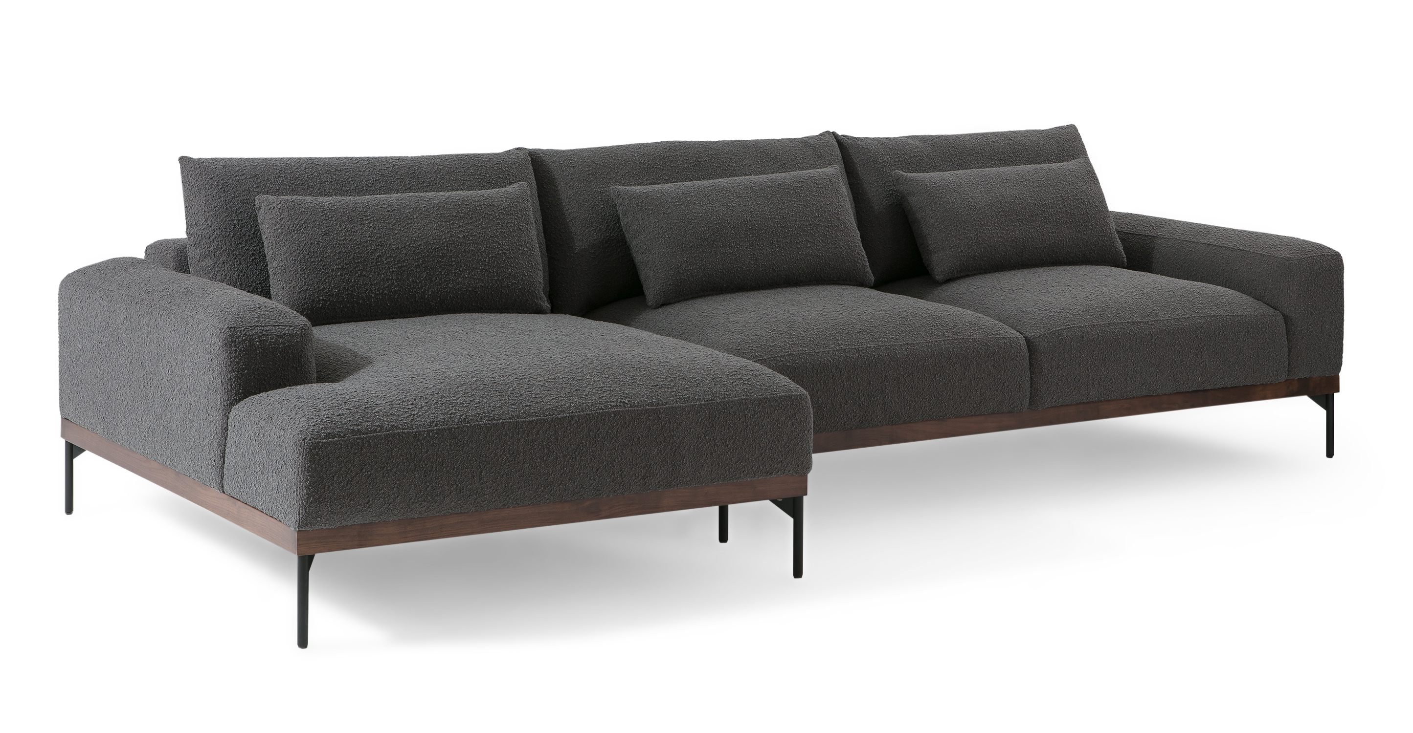 """Tate 122"""" Fabric Sofa Sectional Left, Gris Boucle"""