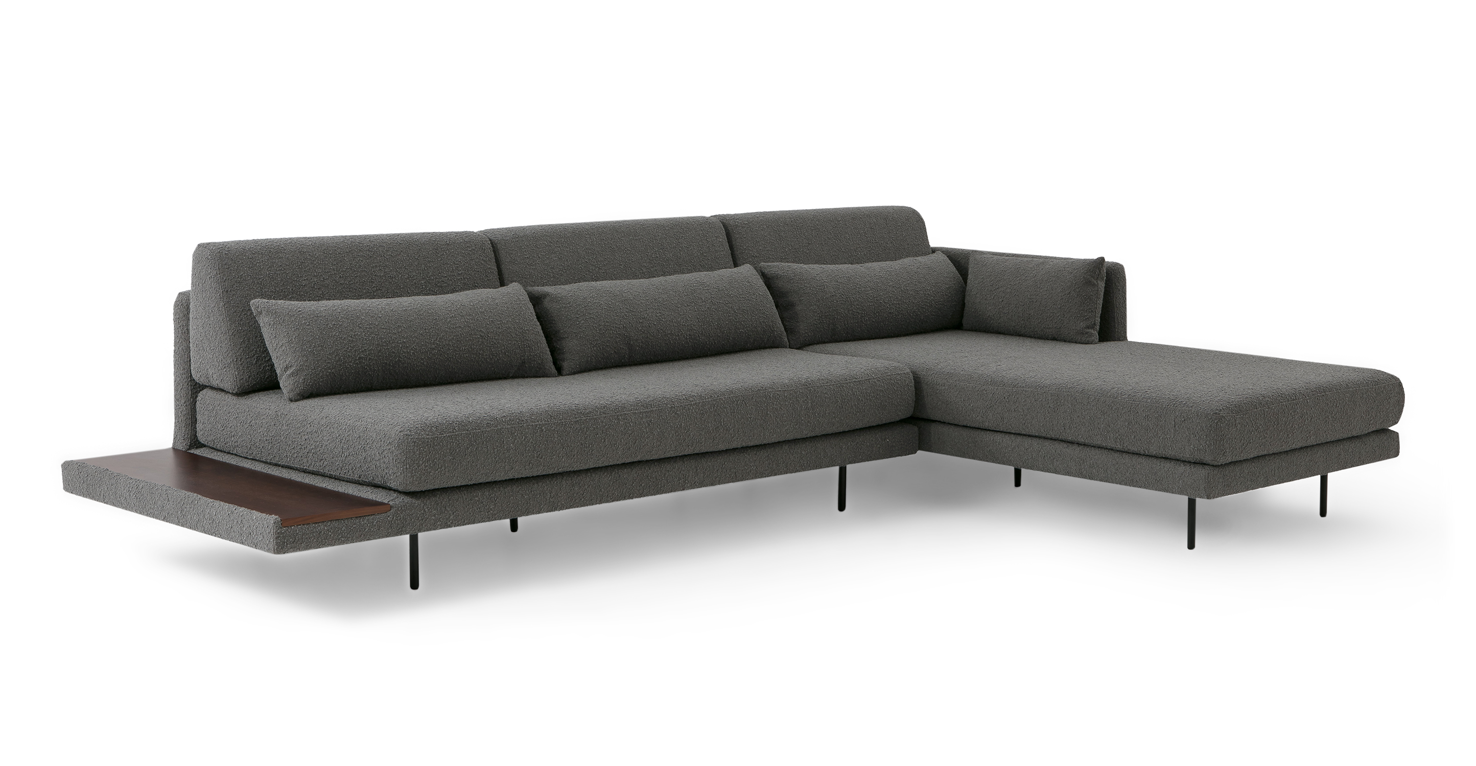 """Davenport 116"""" Fabric Sofa Sectional Right, Gris Boucle"""