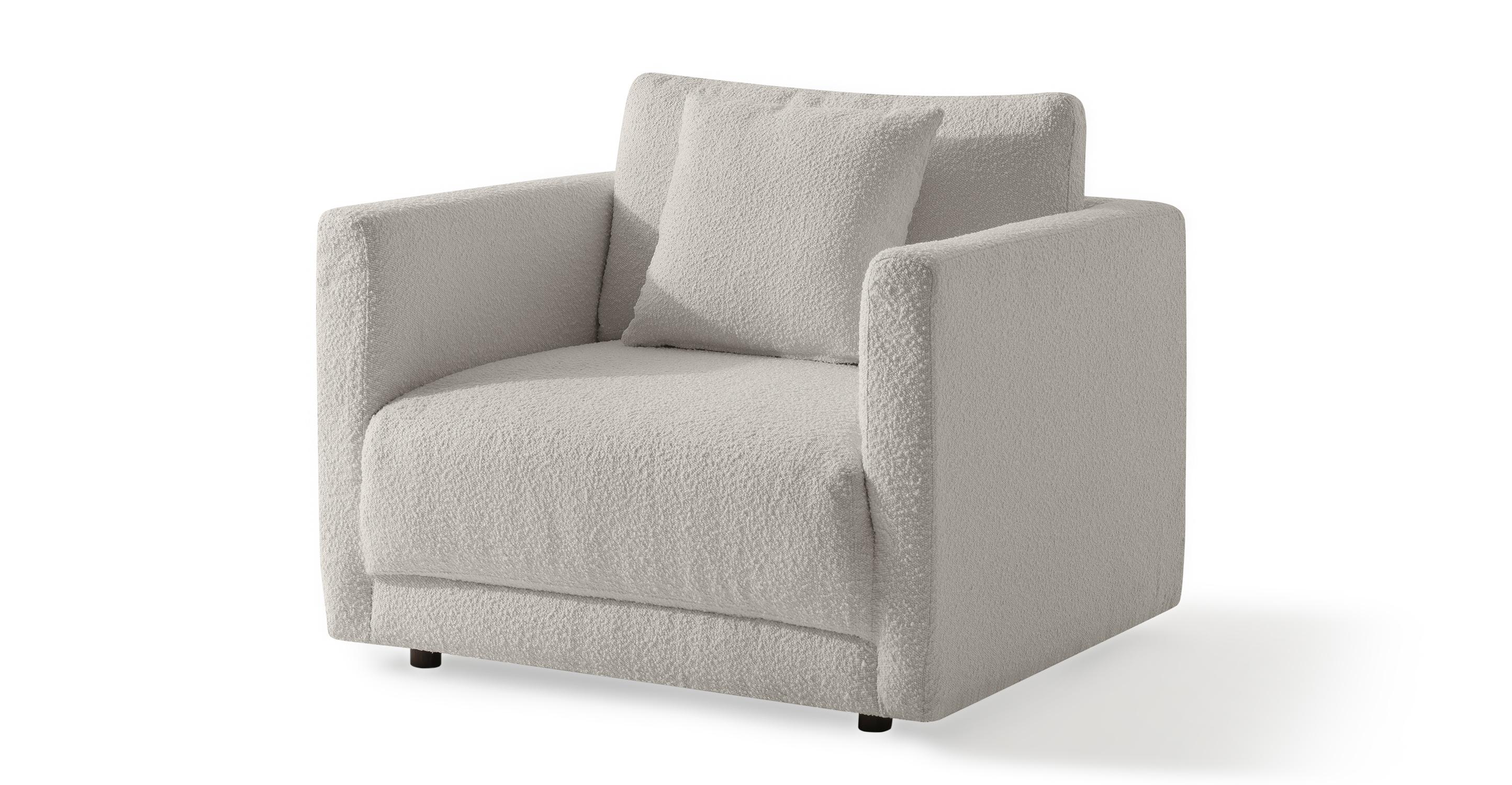 "Domus 39"" Fabric Chair, Blanc Boucle"