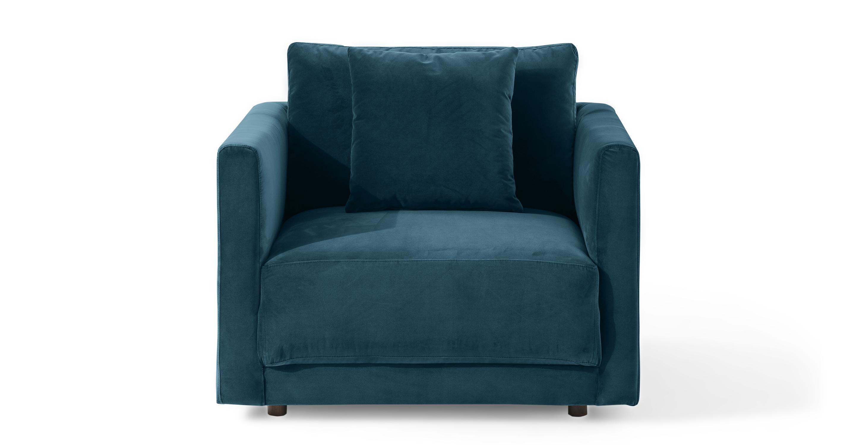 """Domus 39"""" Fabric Chair, Petrol Velvet"""