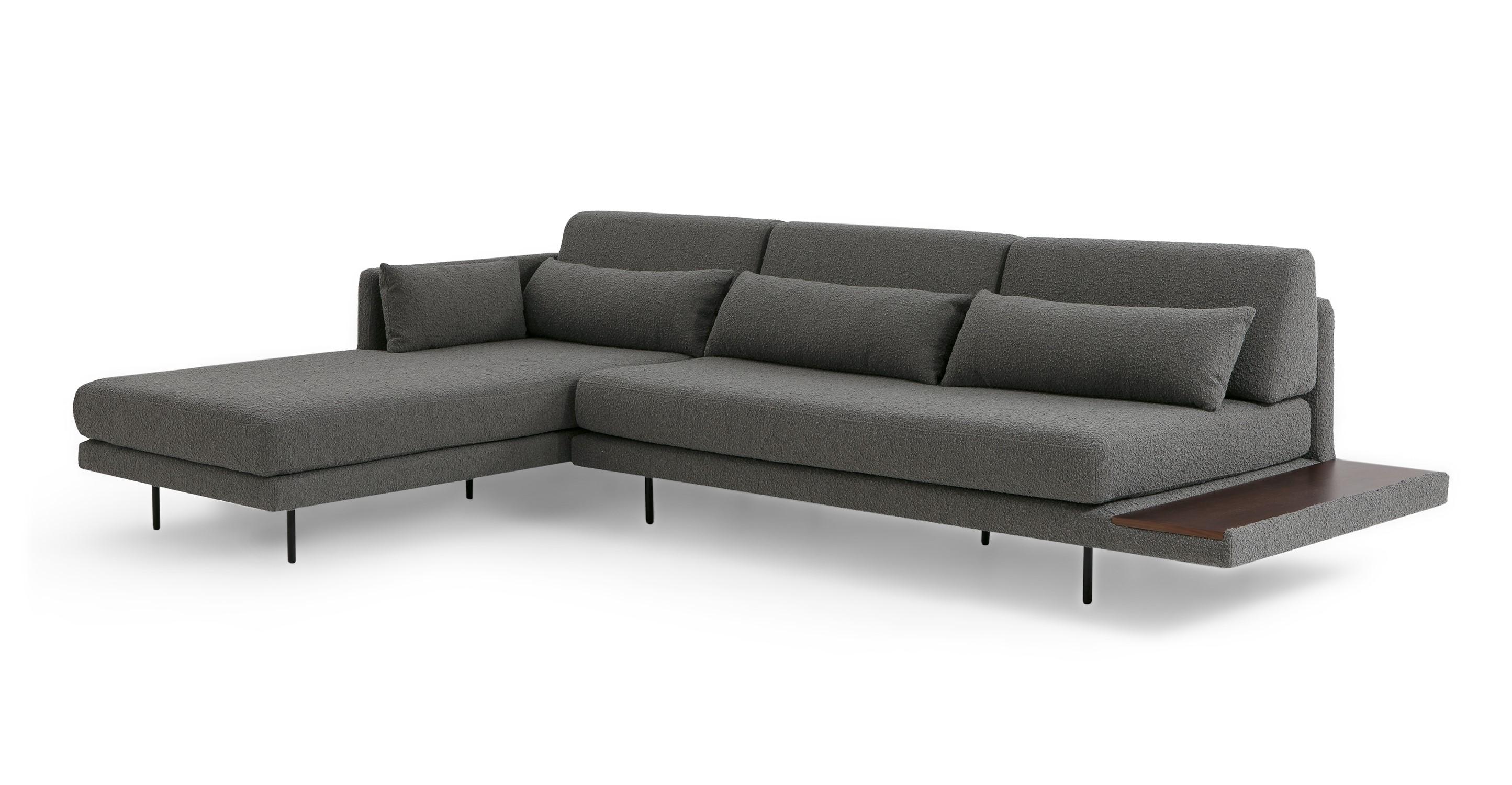 "Davenport 116"" Fabric Sofa Sectional Left, Gris Boucle"