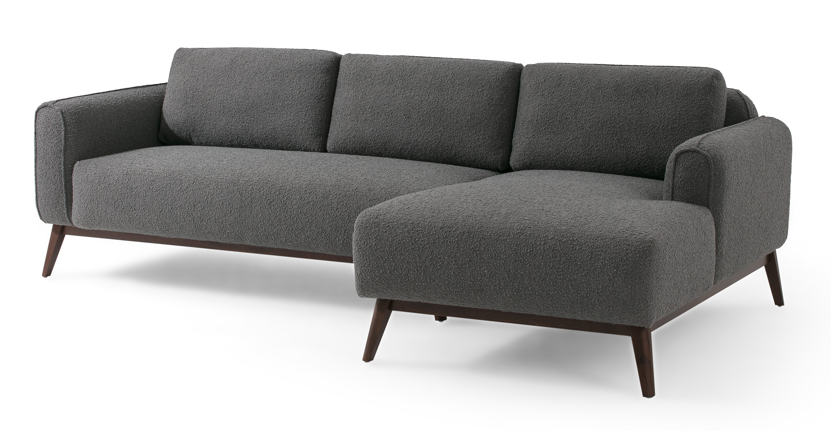 """Metro 100"""" Fabric Sofa Sectional Right, Gris Boucle"""