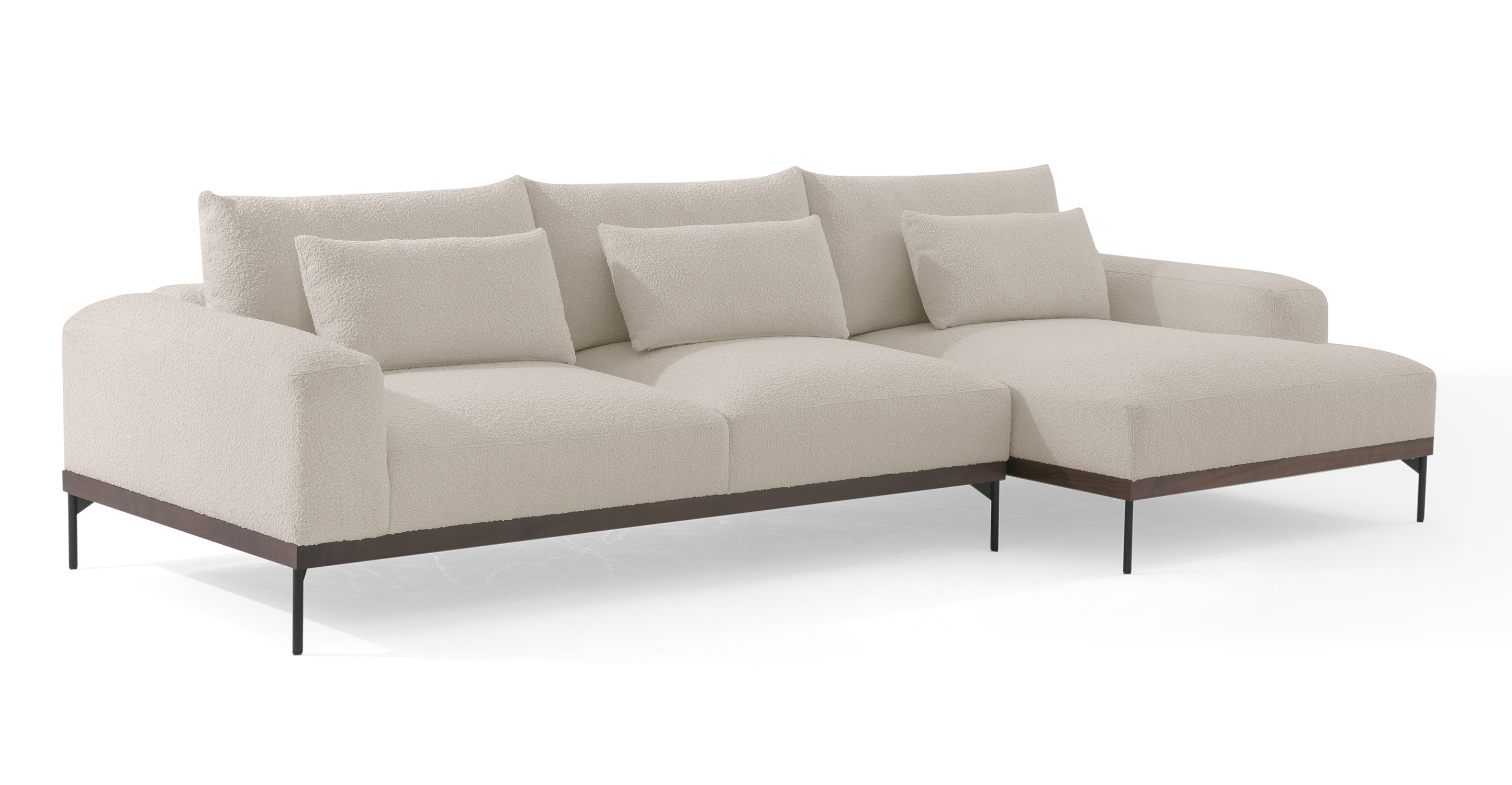 """Tate 122"""" Fabric Sofa Sectional Right, Blanc Boucle"""
