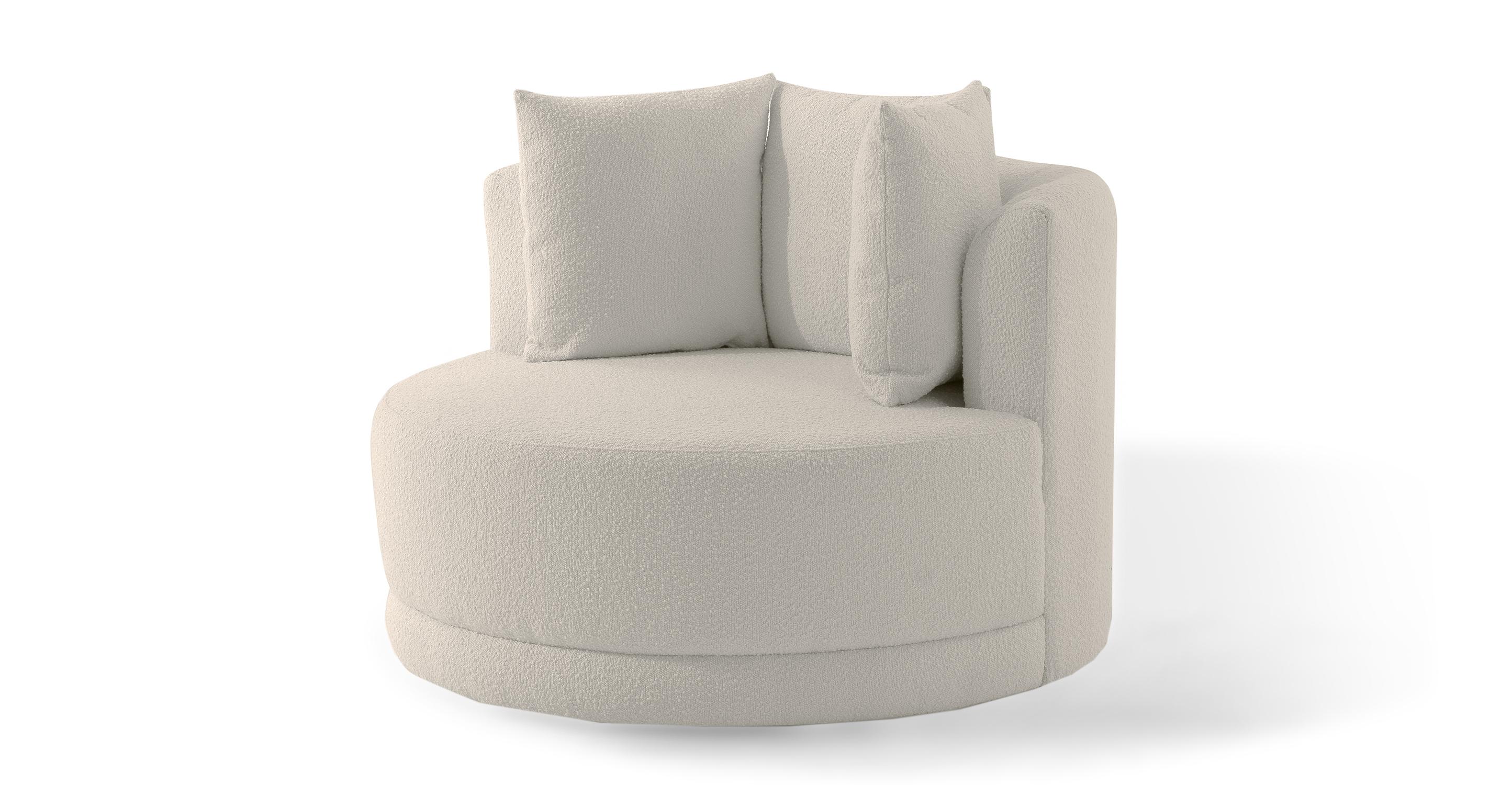 "Domus 47"" Fabric Barrel Chair, Blanc Boucle"