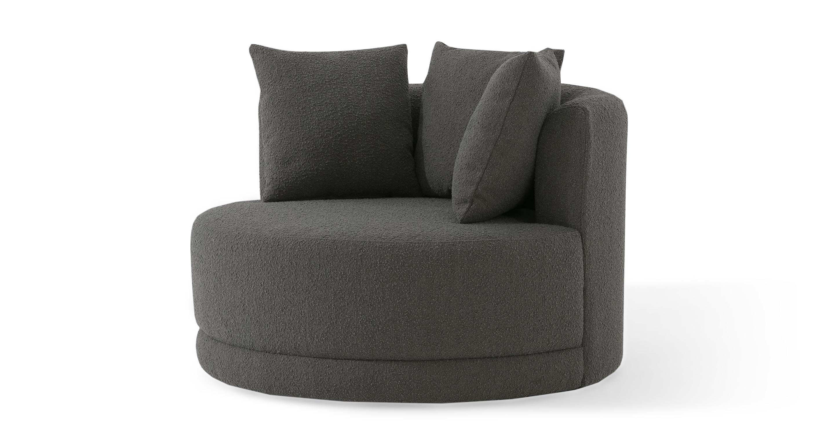 "Domus 47"" Fabric Barrel Chair, Gris Boucle"