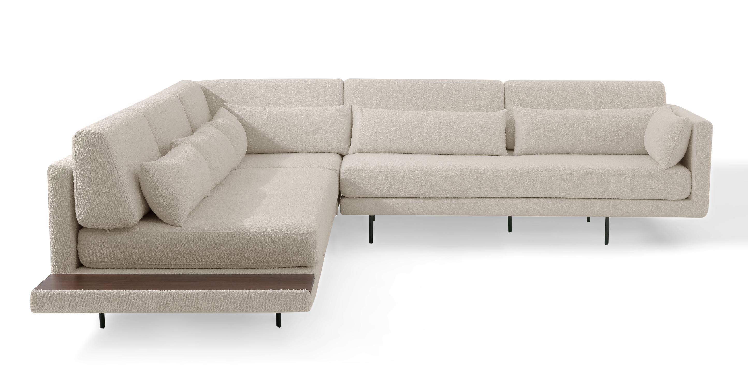 "Davenport 110"" Fabric L-Corner Sofa Sectional, Blanc Boucle"