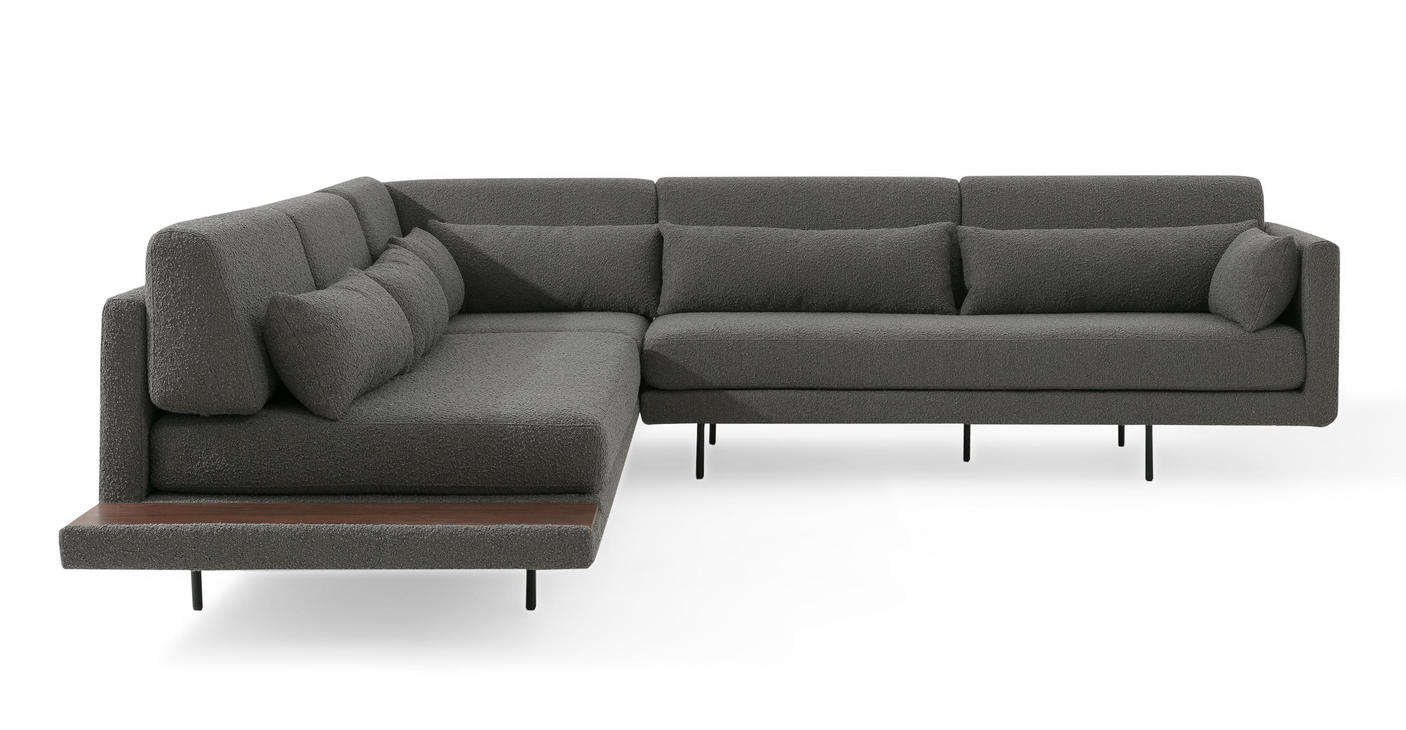 "Davenport 110"" Fabric L-Corner Sofa Sectional, Gris Boucle"
